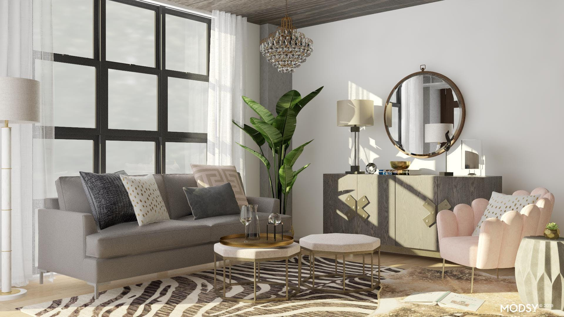 Glam Accents Soften An Industrial Living Room