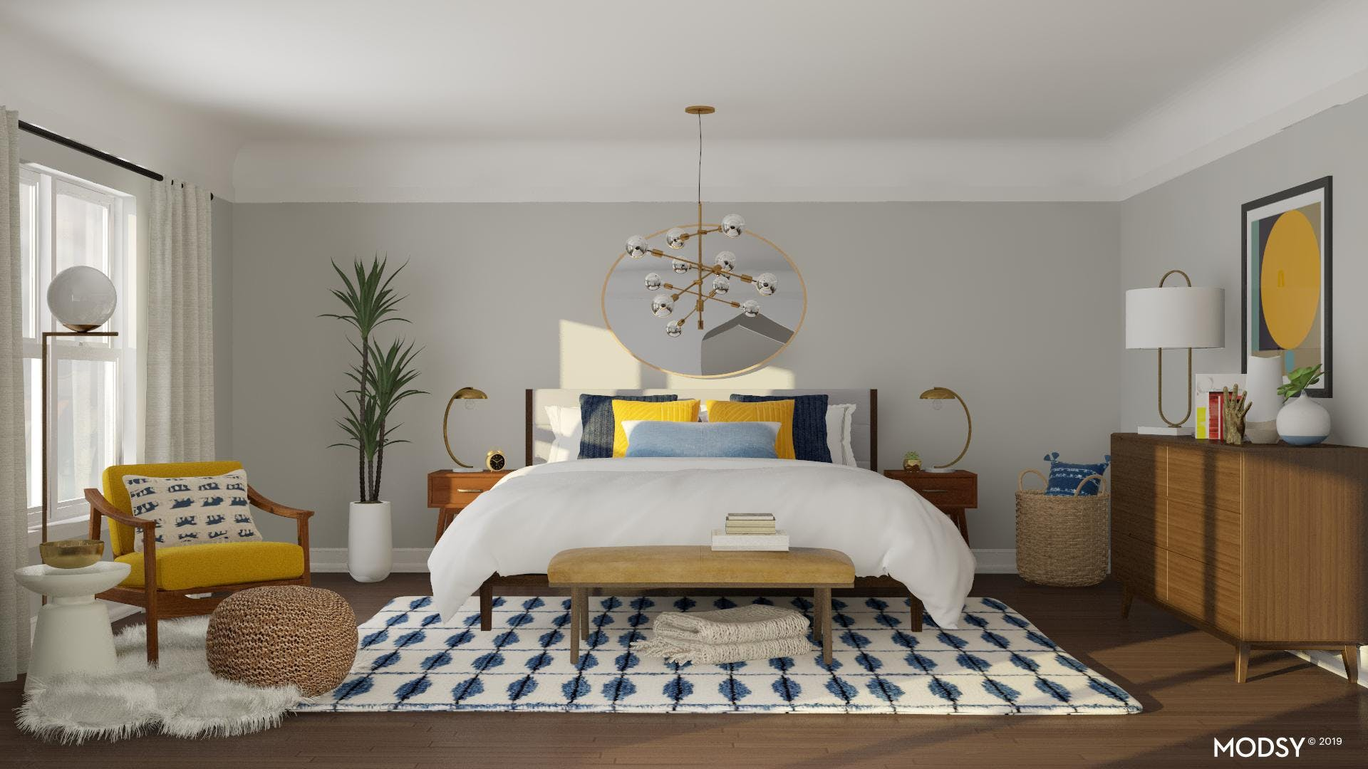 Bold Midcentury Bedroom