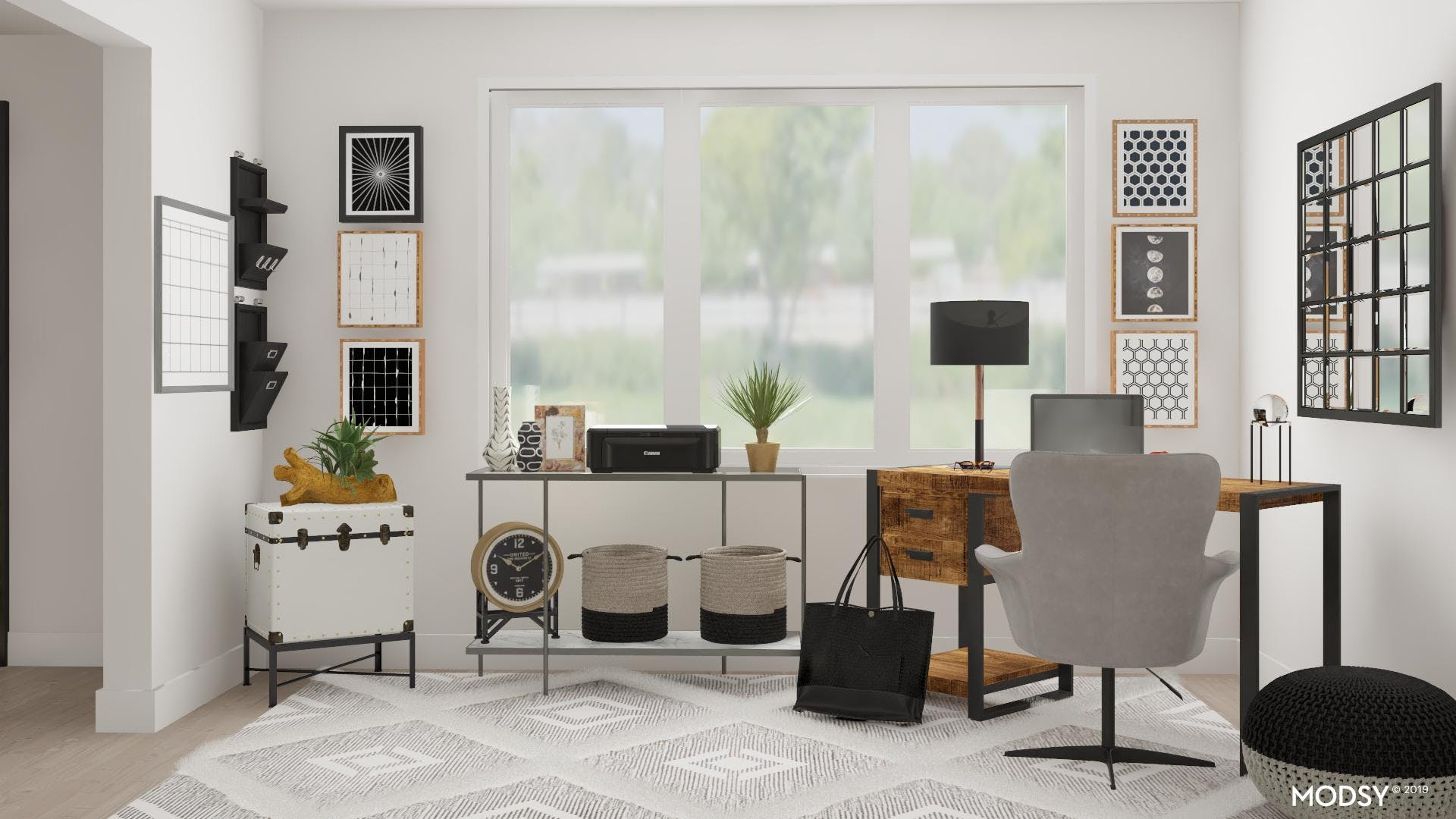 Black and White Coast Inspired Office