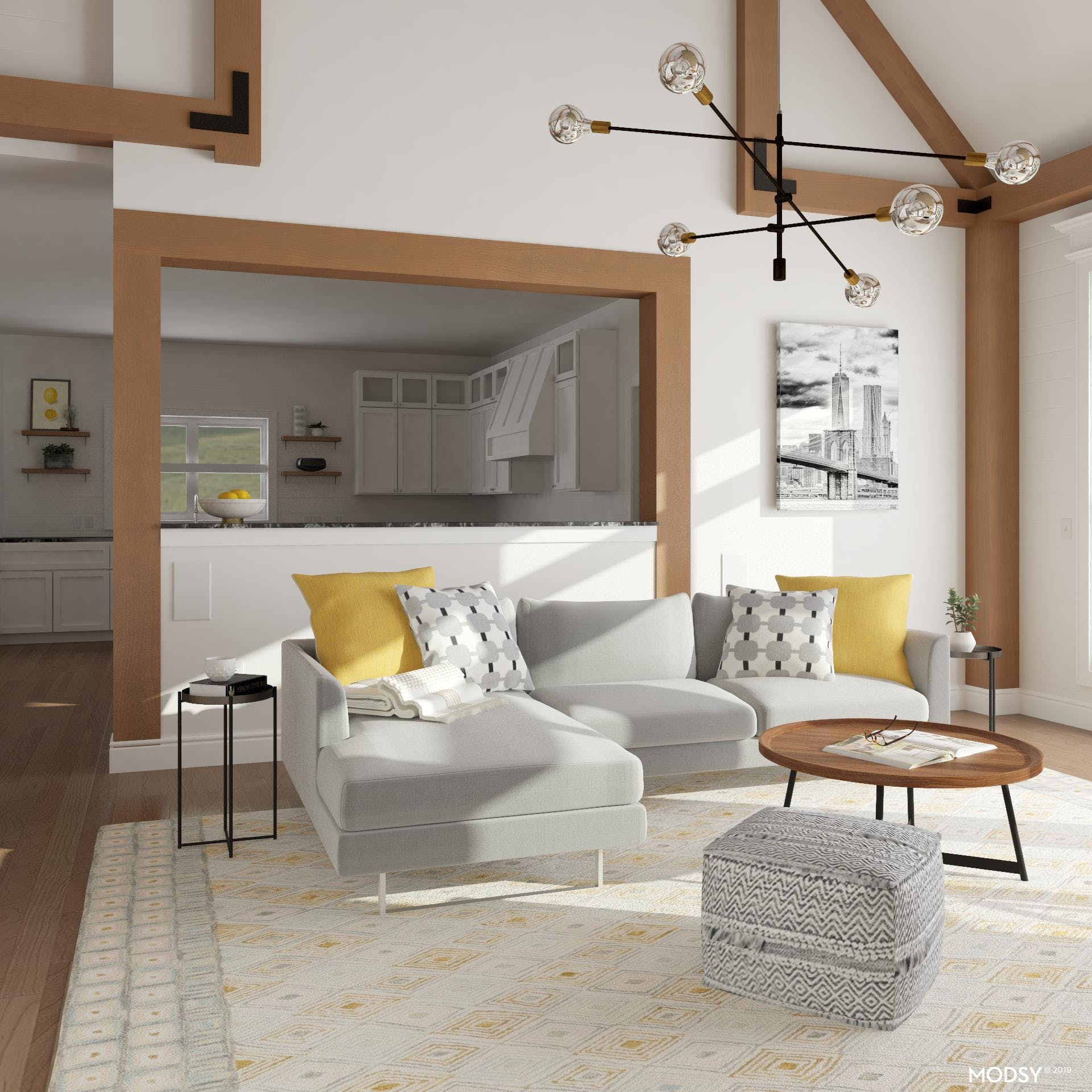 Neutral Industrial Living Room