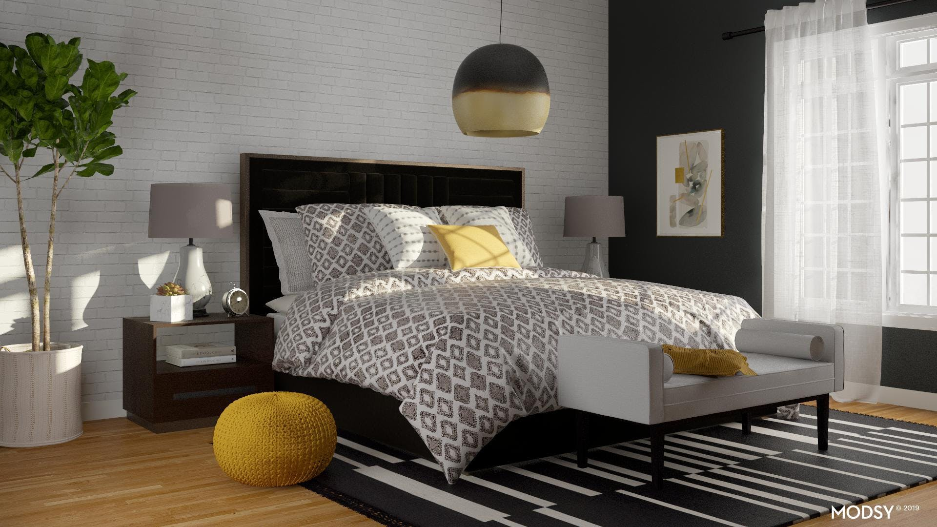 Contemporary Bedroom That Pops!