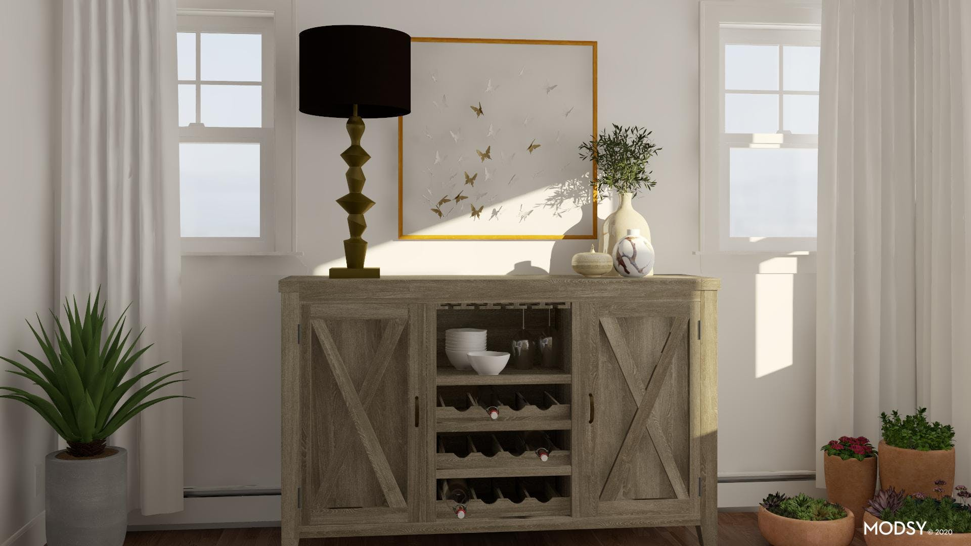 Traditional Meets Neutral Dining Storage