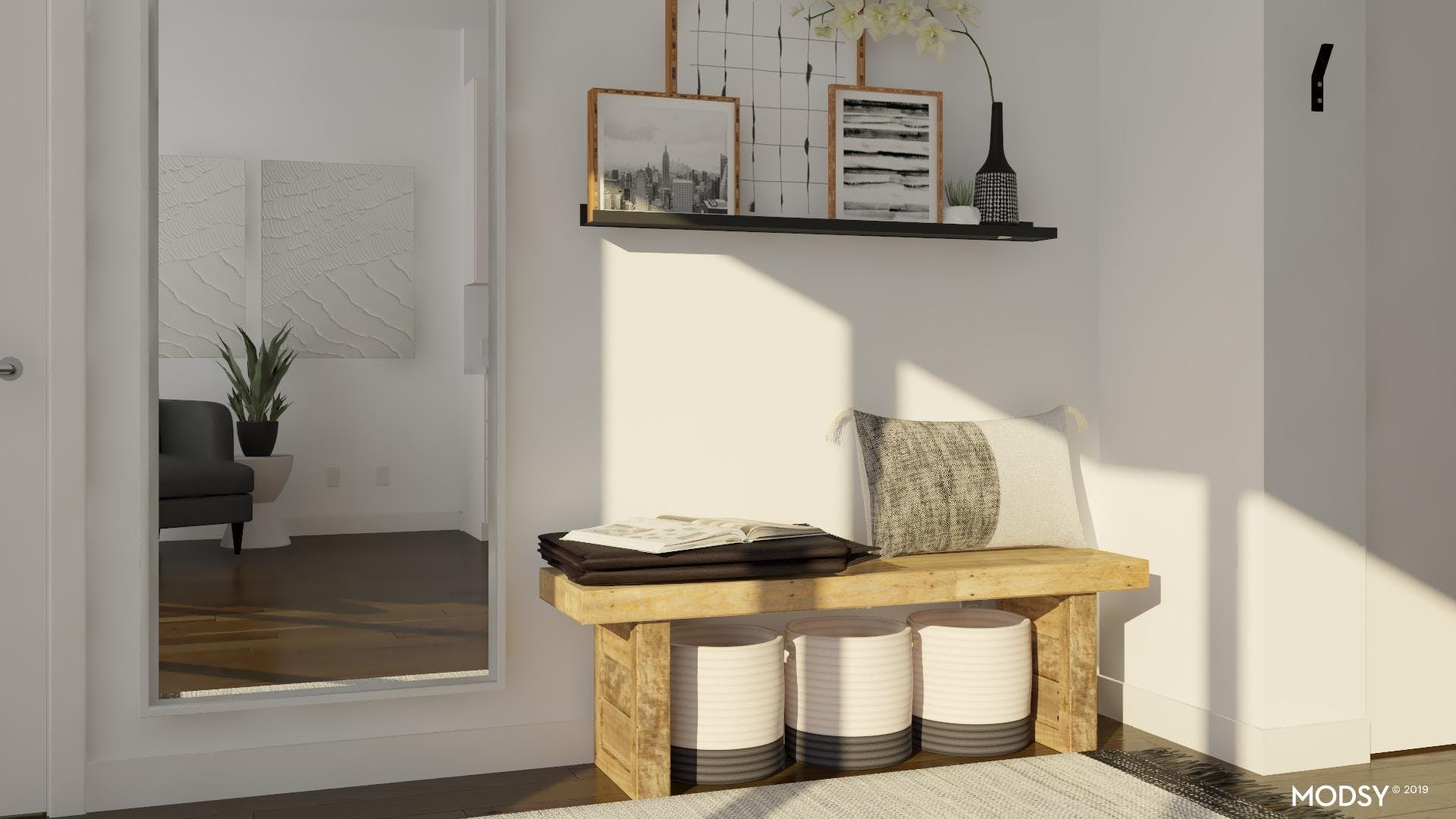 Making An Entry In Your Small Space With A Modern Warm Black And White Design