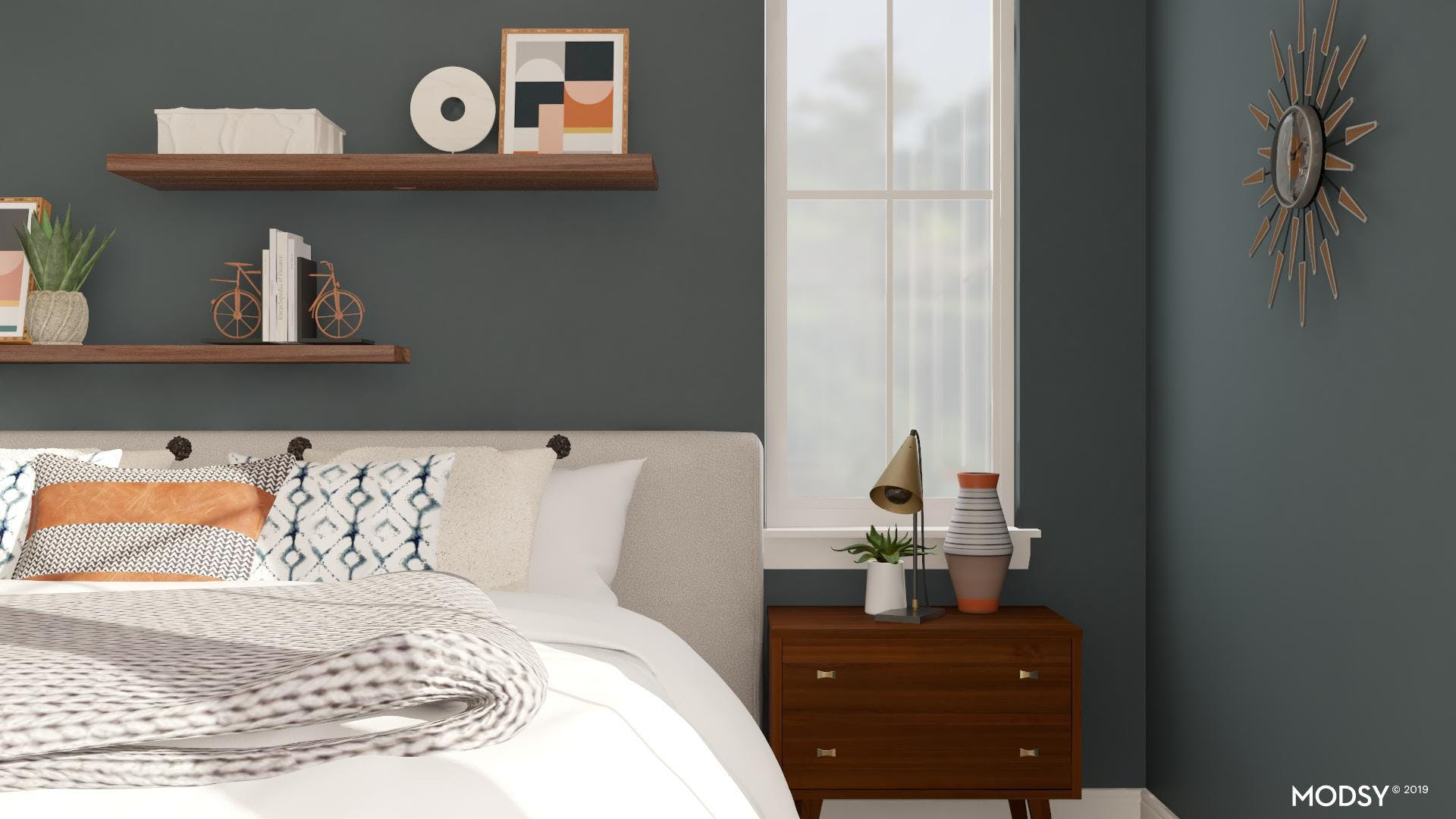 Fun and space-friendly storage options in a mid-century bedroom