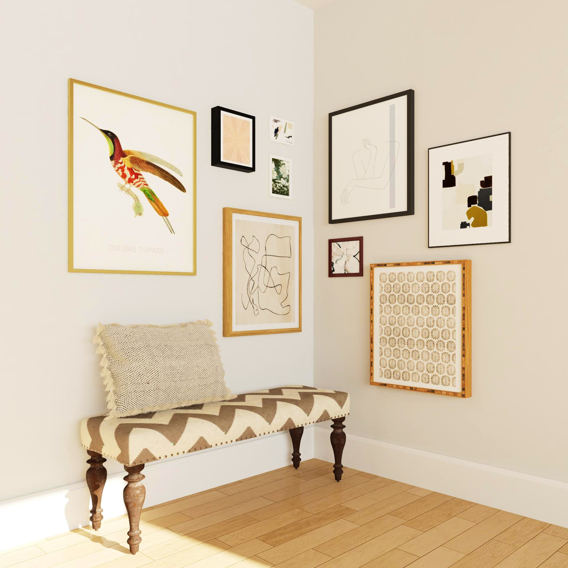 Gallery Wall Entryway With Jazzy Upholstered Bench