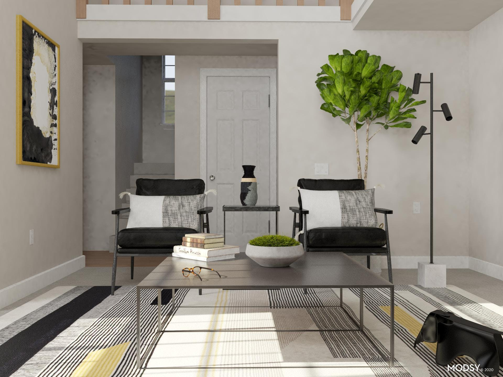 Black, White and Gold: A Minimalist Living Room