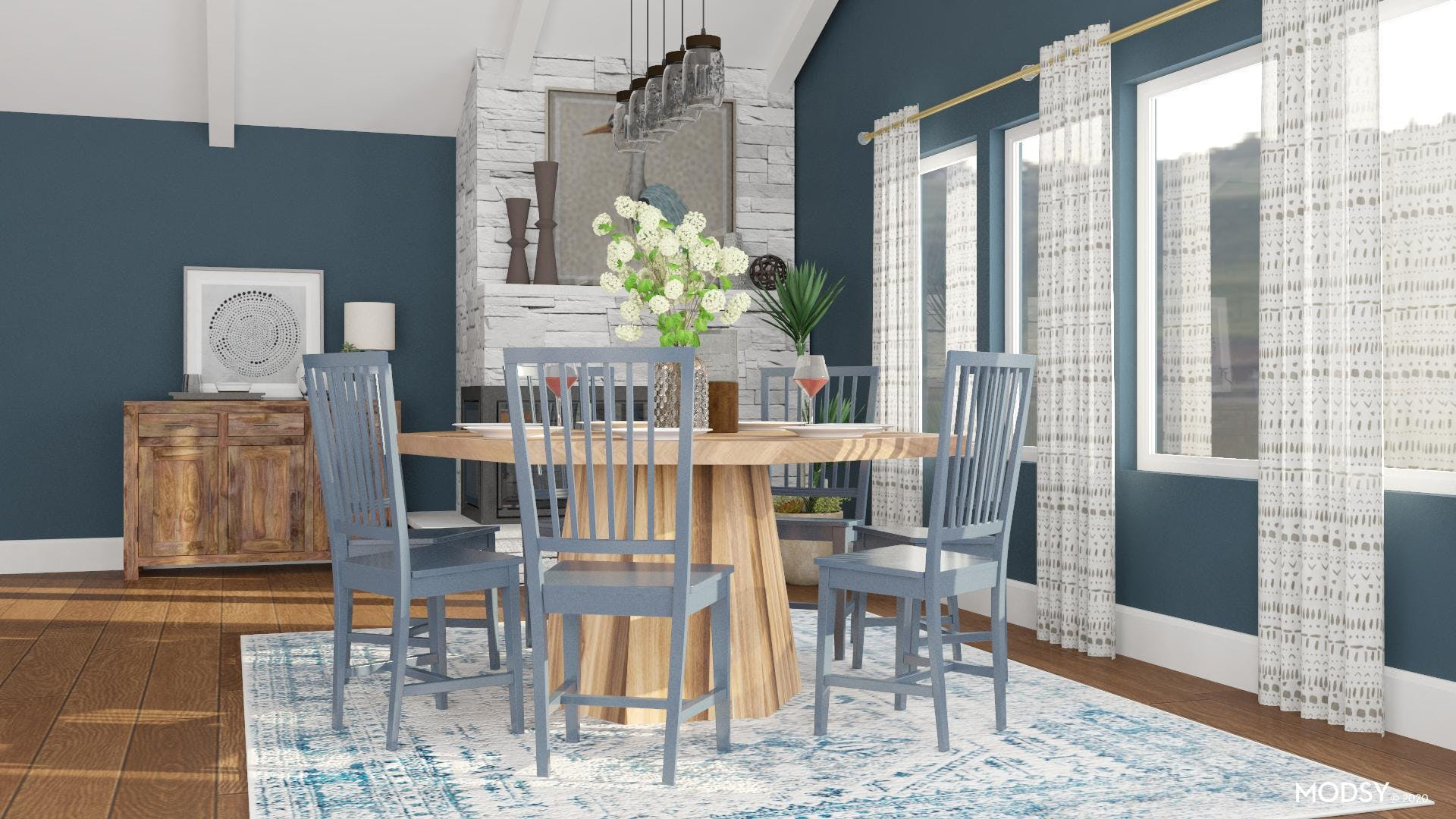 Blue Rustic Dining Room