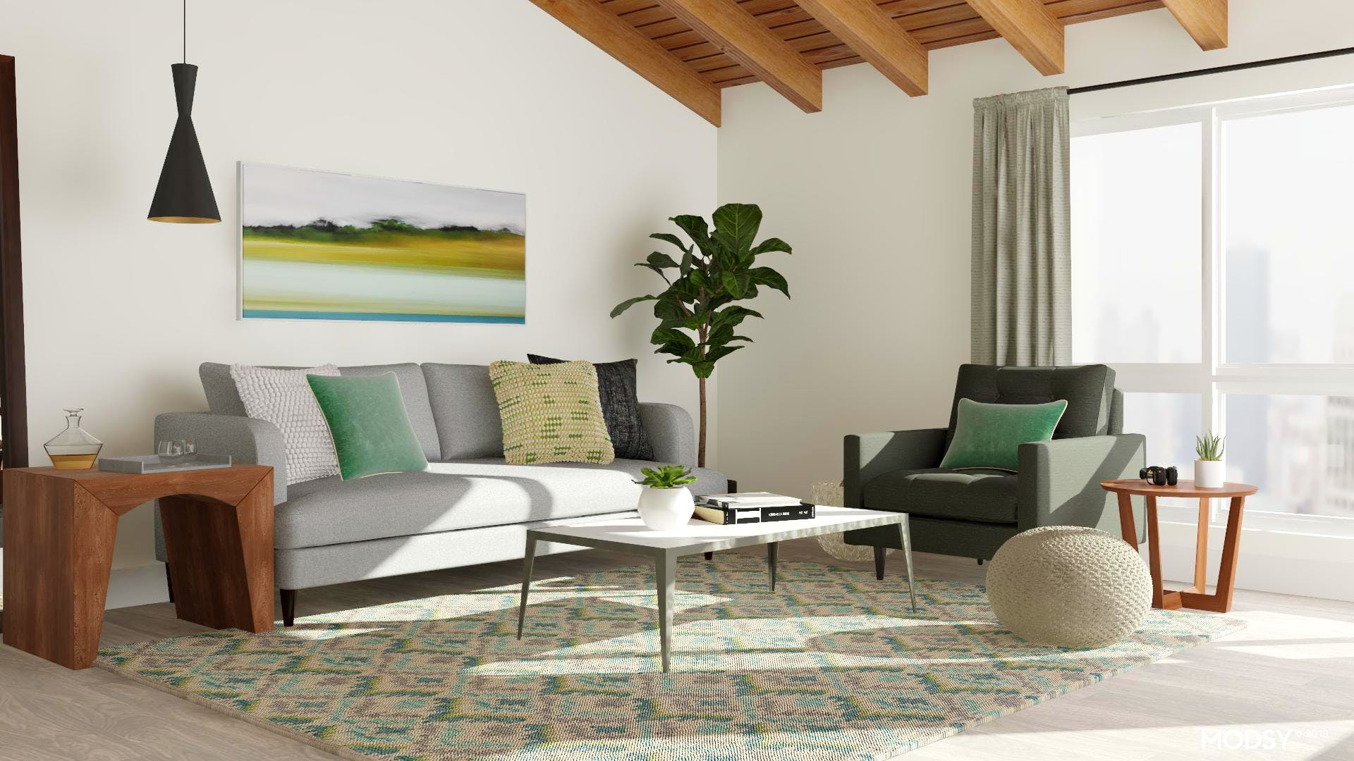 Pops Of Green In A Modern Living Room