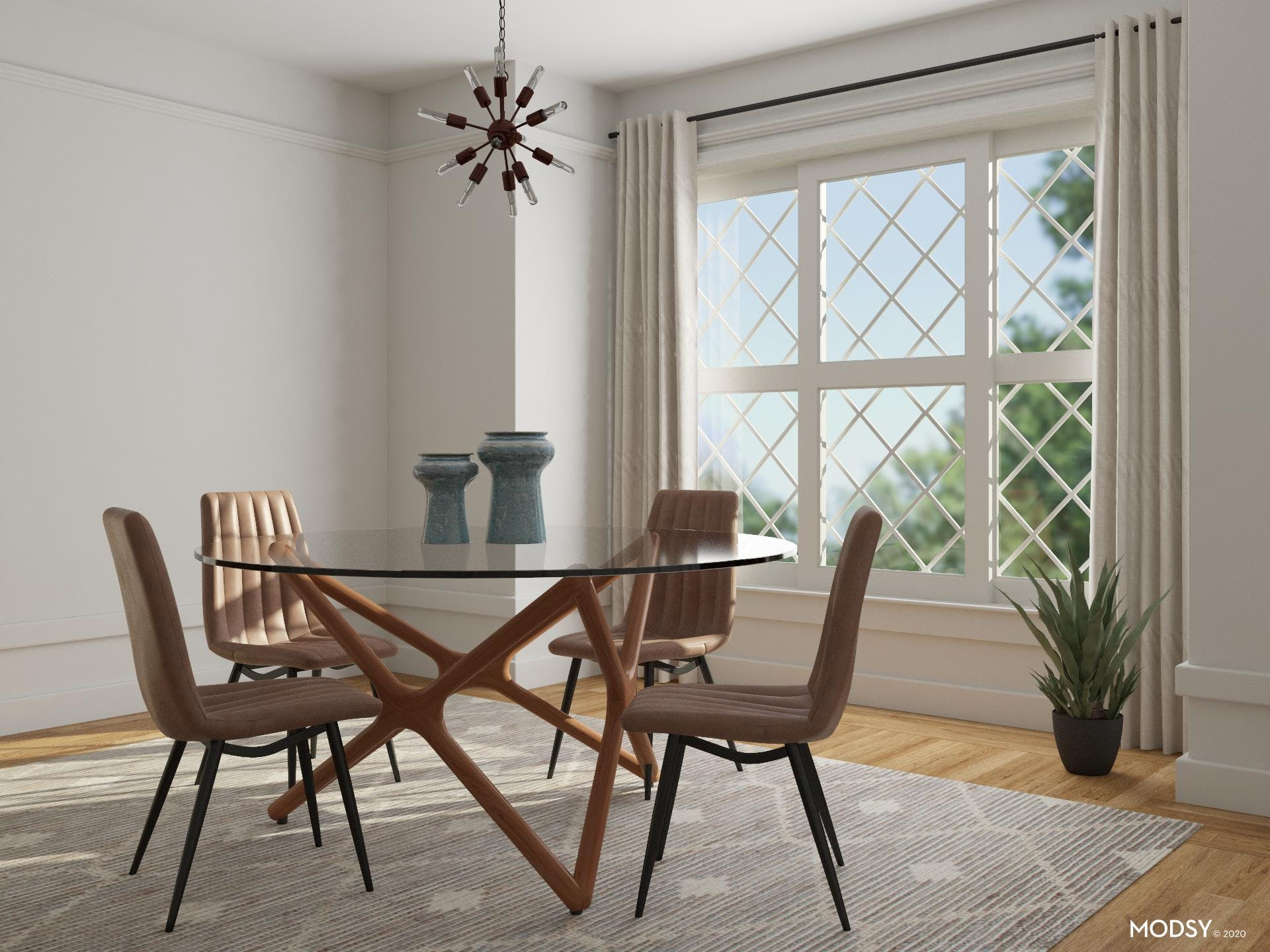 Glass Mid-Century Modern Dining Table