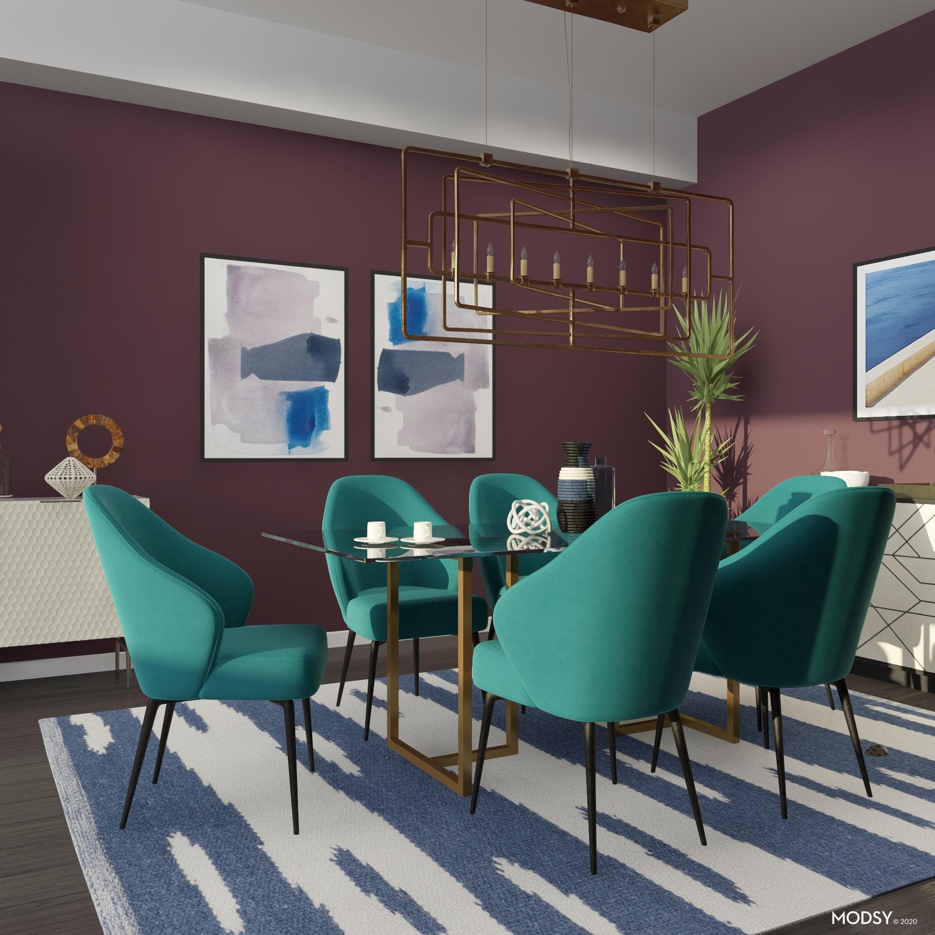 A Tasteful and Colorful Dining Room