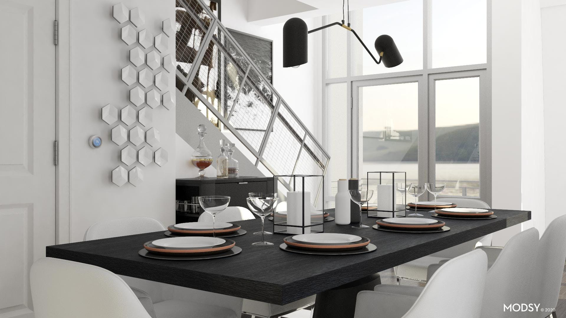Black And White Dining: Warm Contrast
