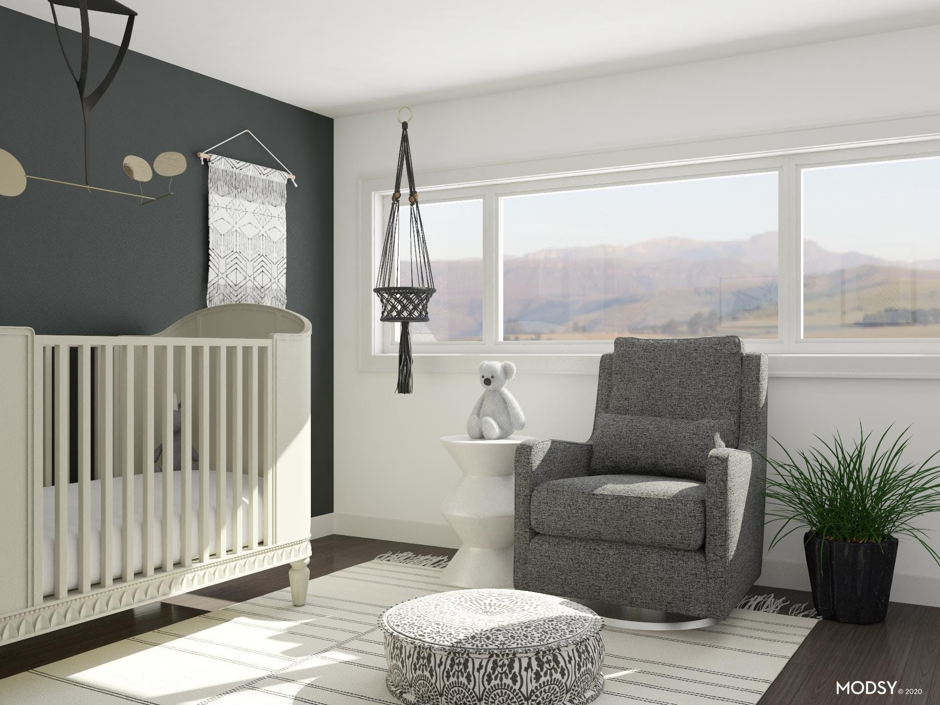 Relaxation and Comfort in Black and White Nursery