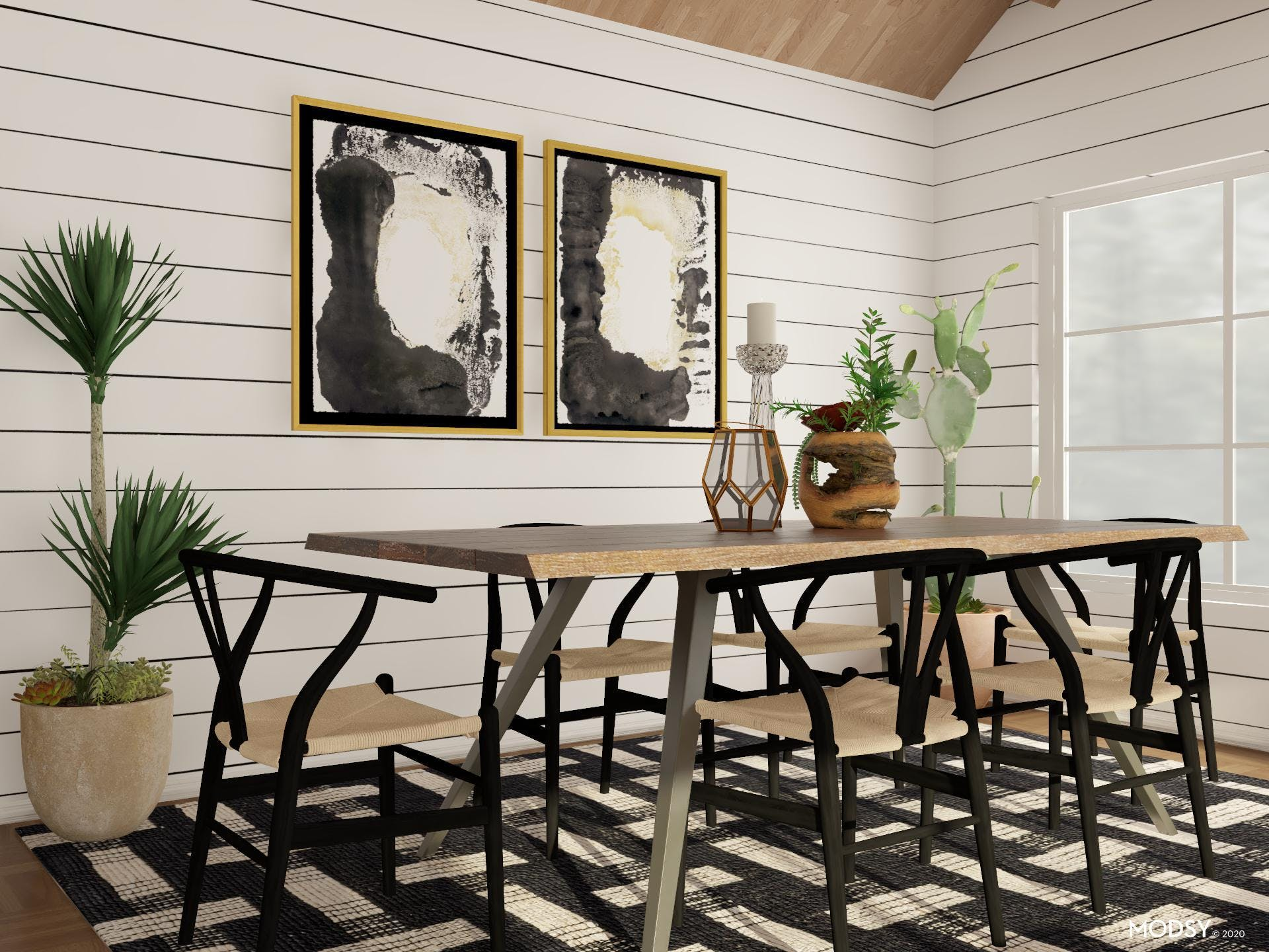 Fall in love with this B&W Eclectic Dining Room