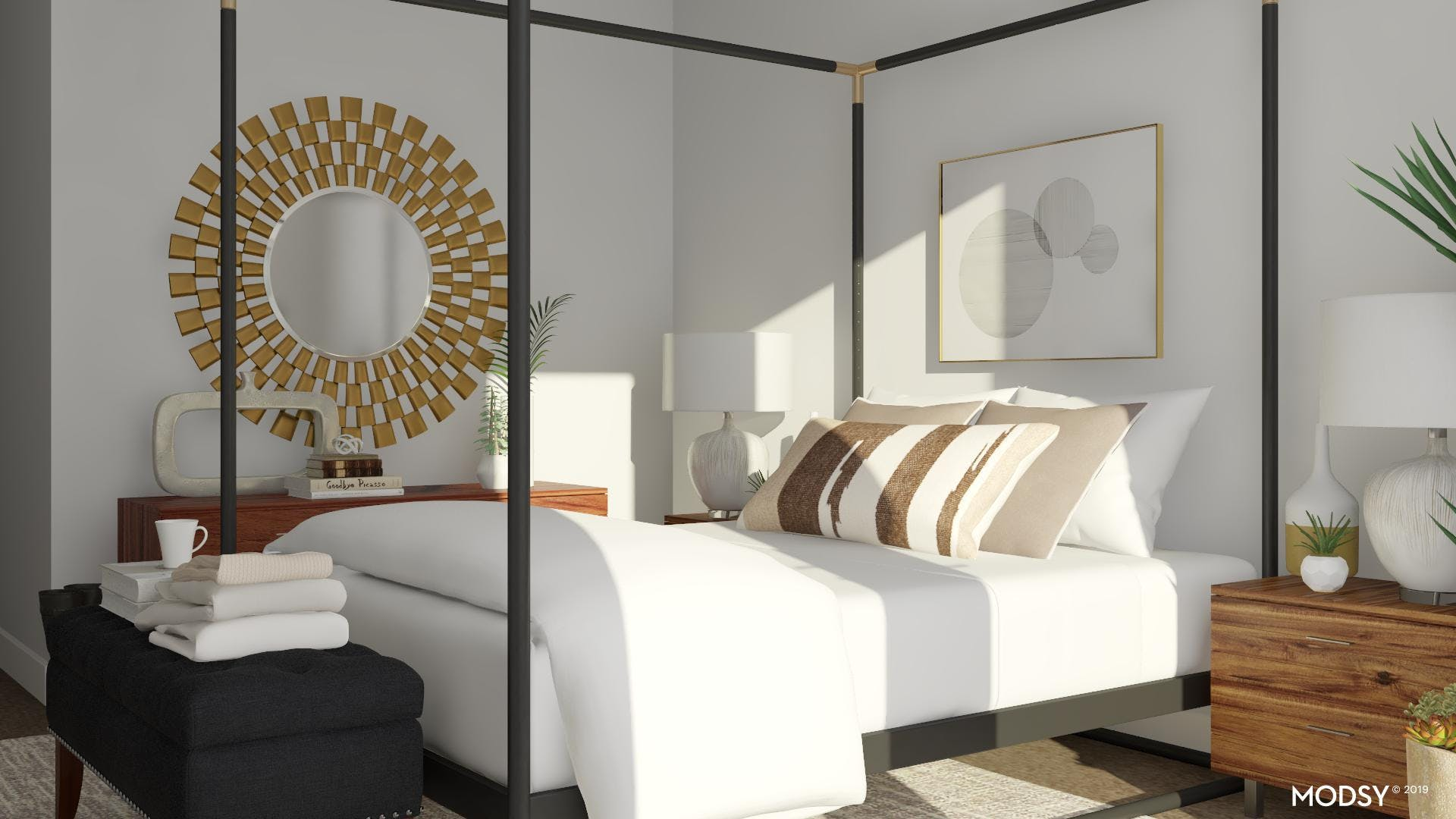Dramatic Mirror In Neutral Bedroom