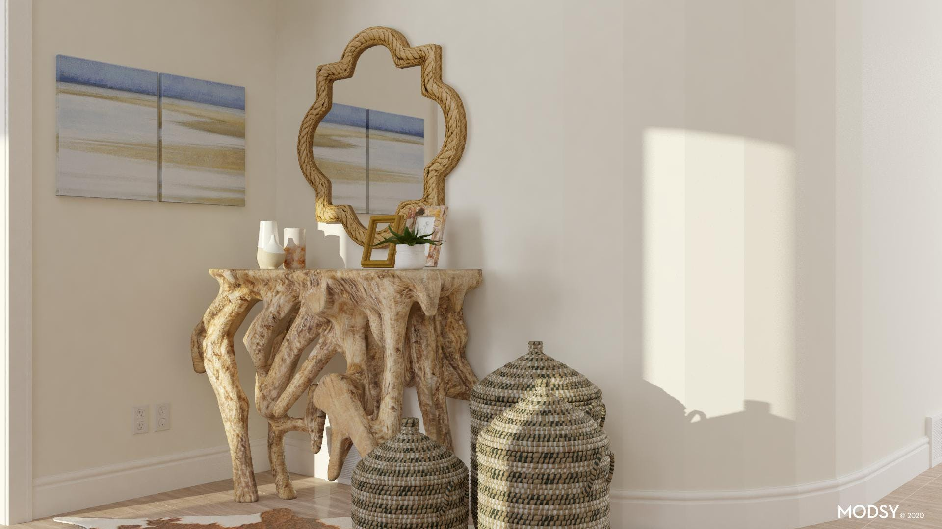 Natural Root Console Table Natural
