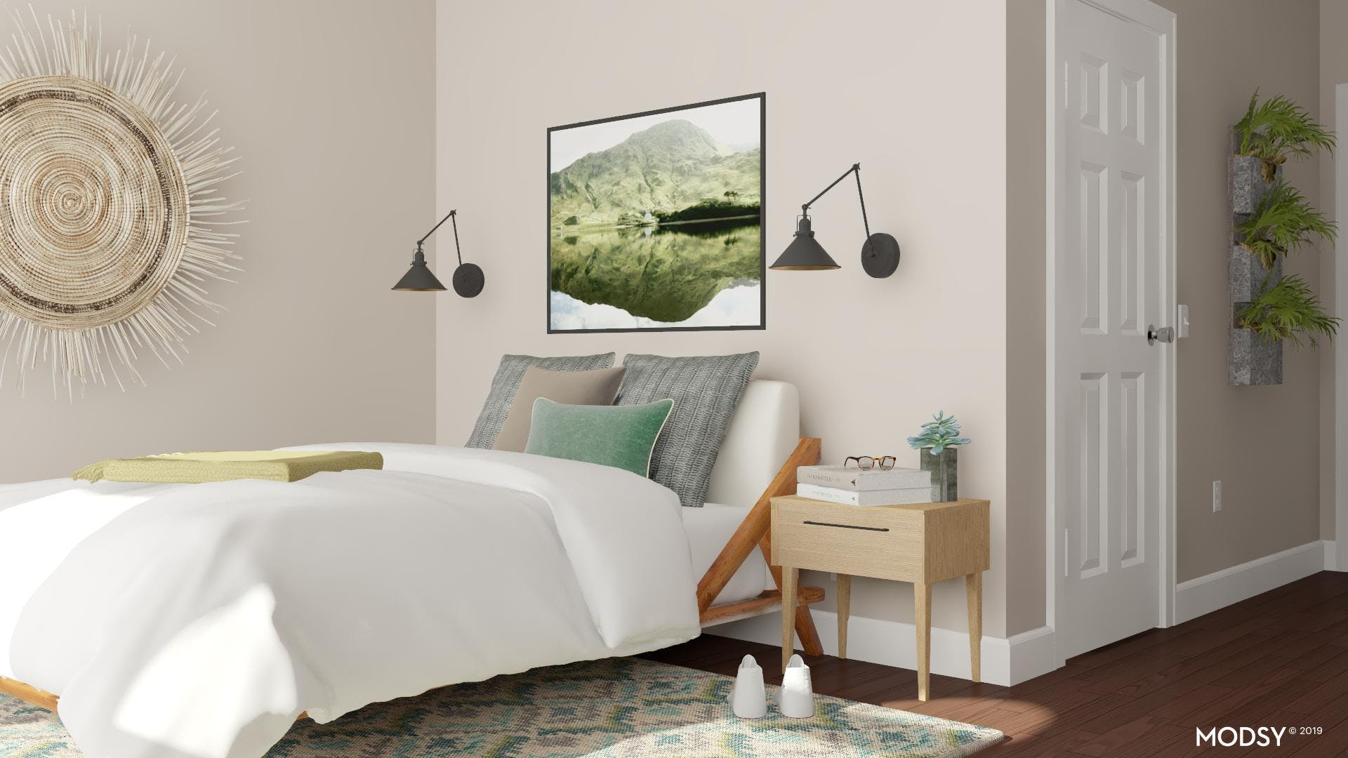 Modern Bedroom with a Splash of Green