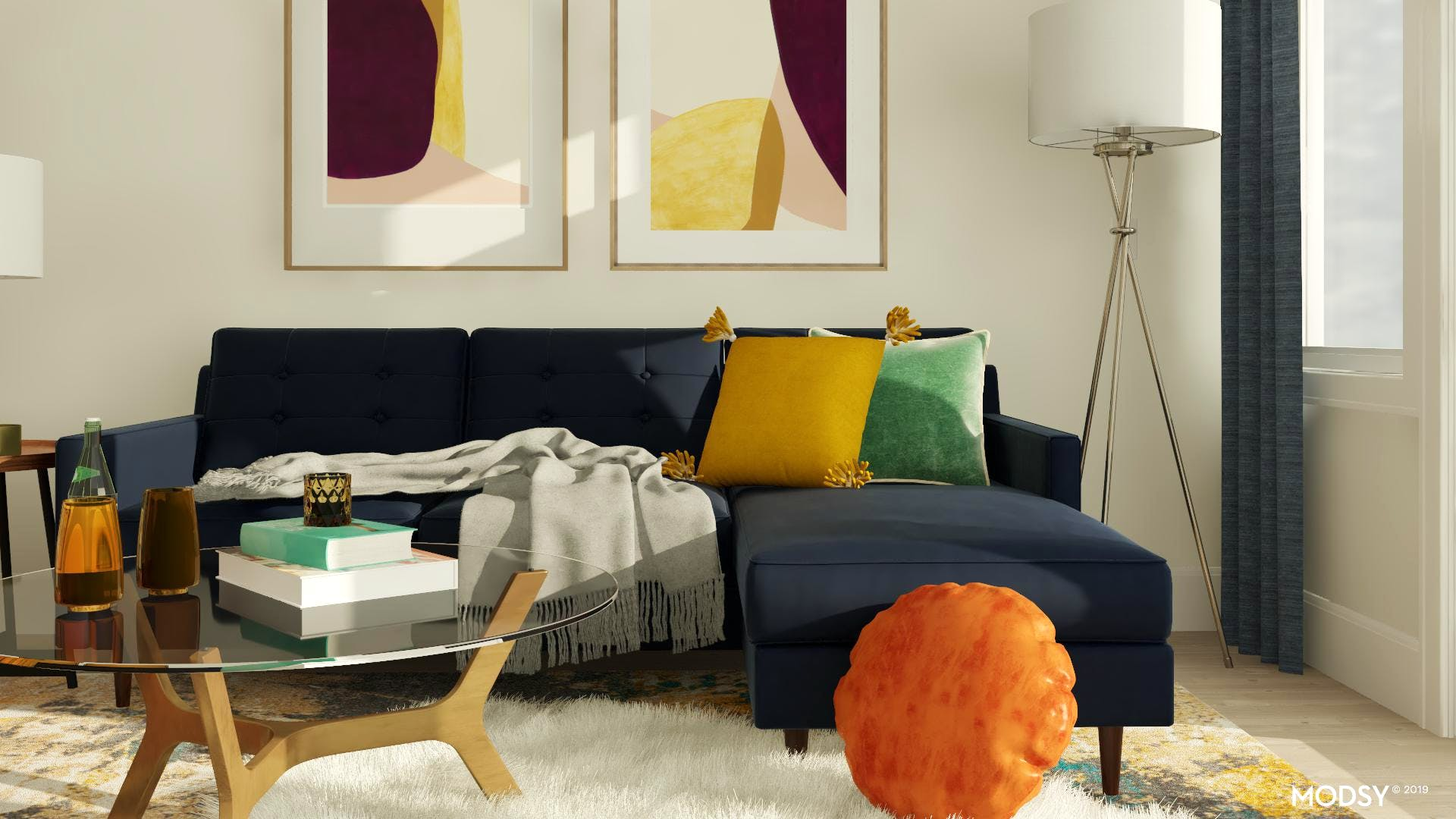 Jewel Tone Mid-Century Living Room