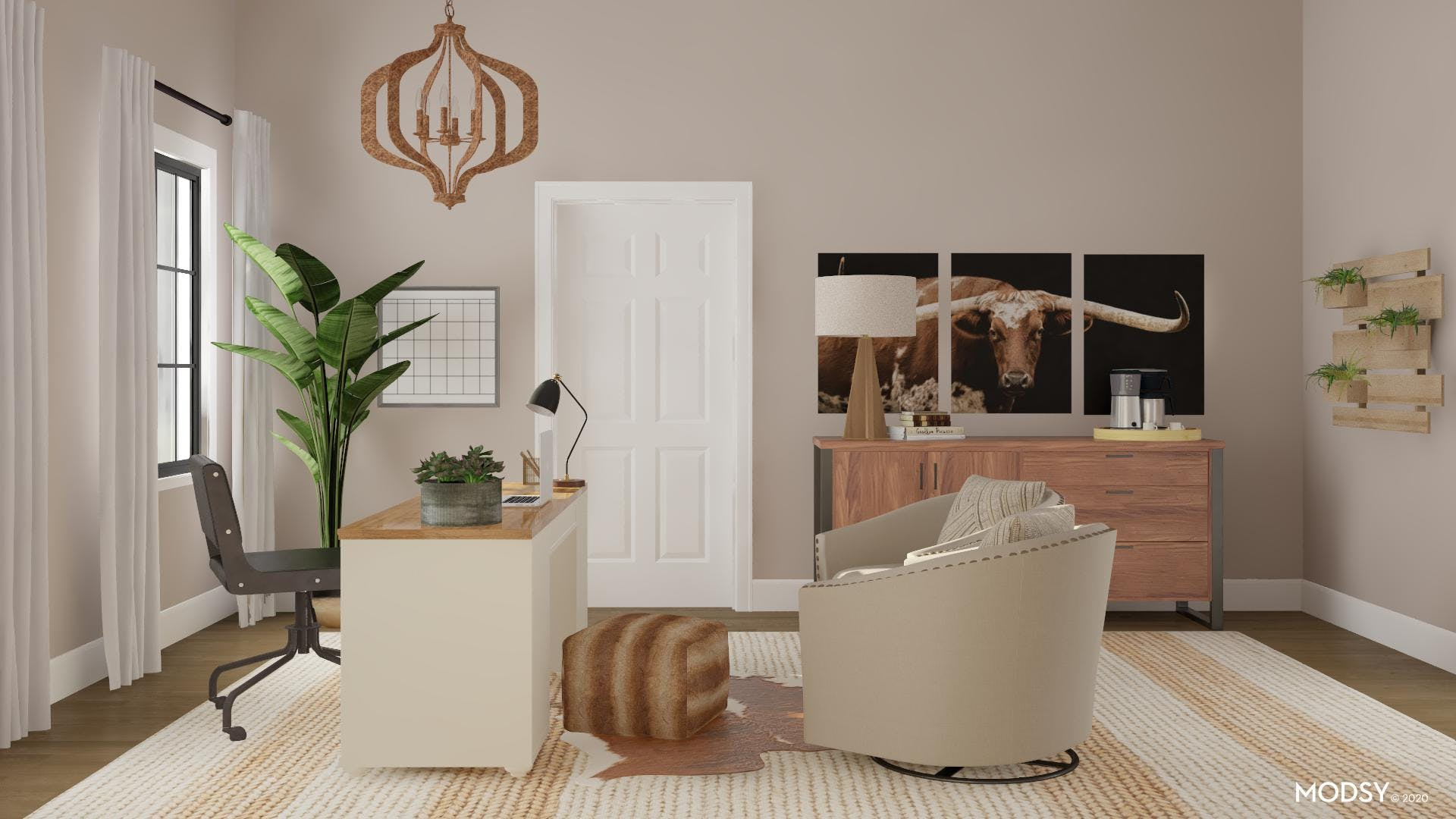 Neutral Office: Rustic Elements