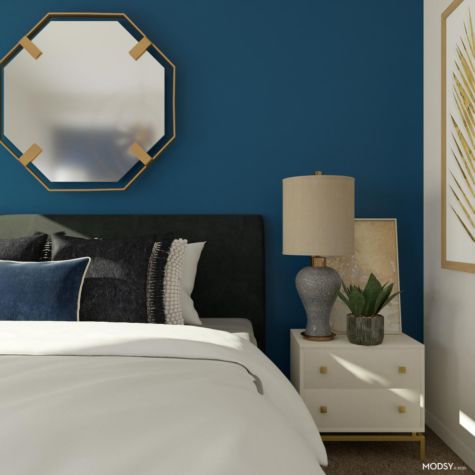 Texture and Comfort in Glamorous Bedroom