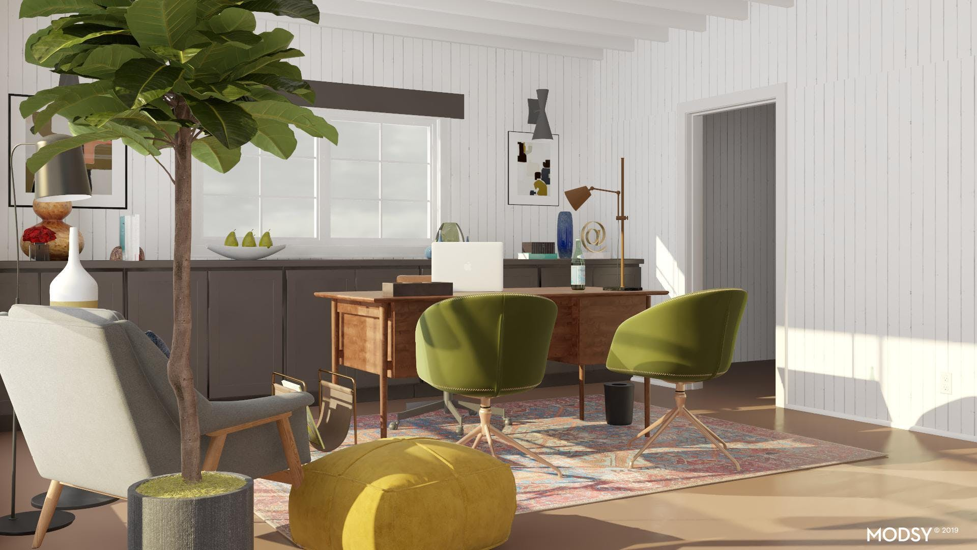 Mid-Century Office: Pops of Color