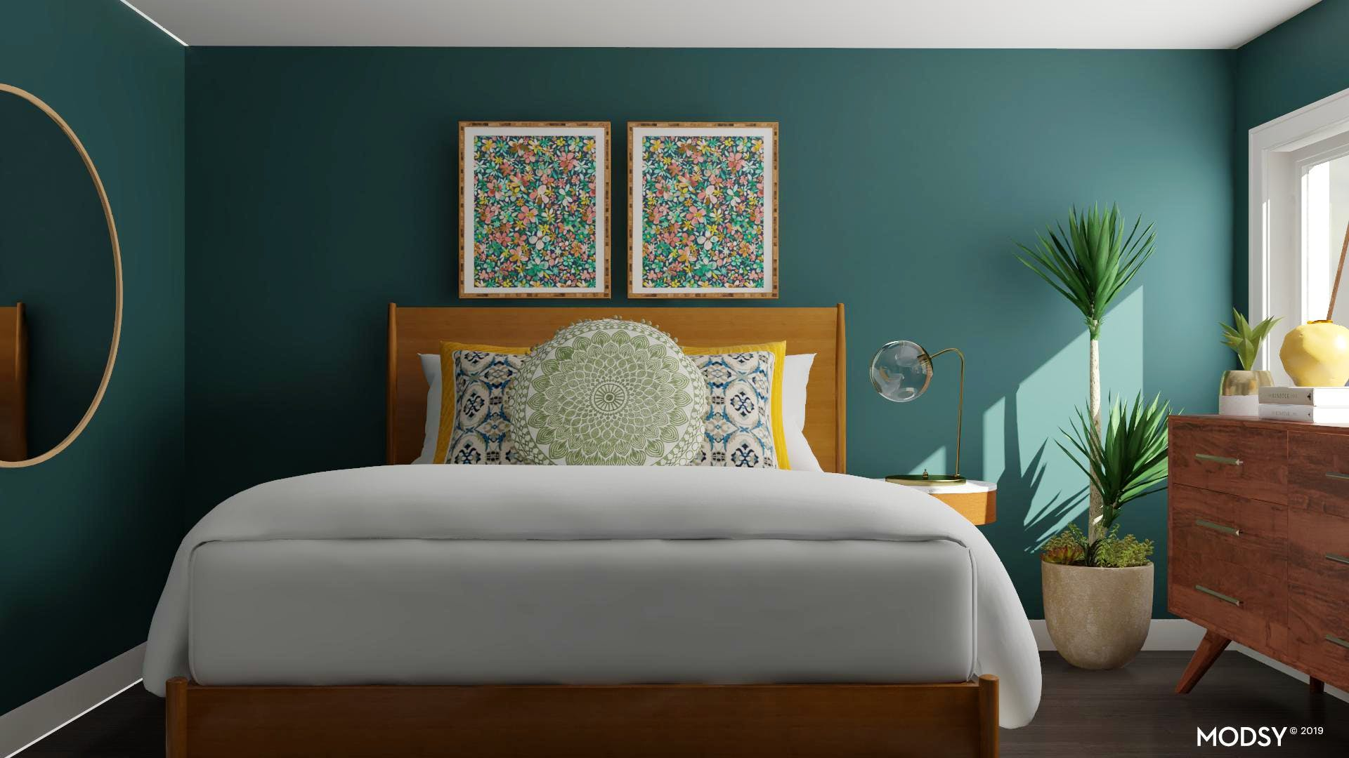 Mod Jewel Tones in a Small Space