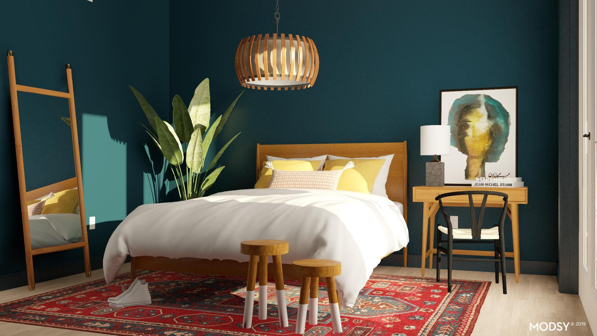 Jewel Toned Bedroom with Mid-Century Flair
