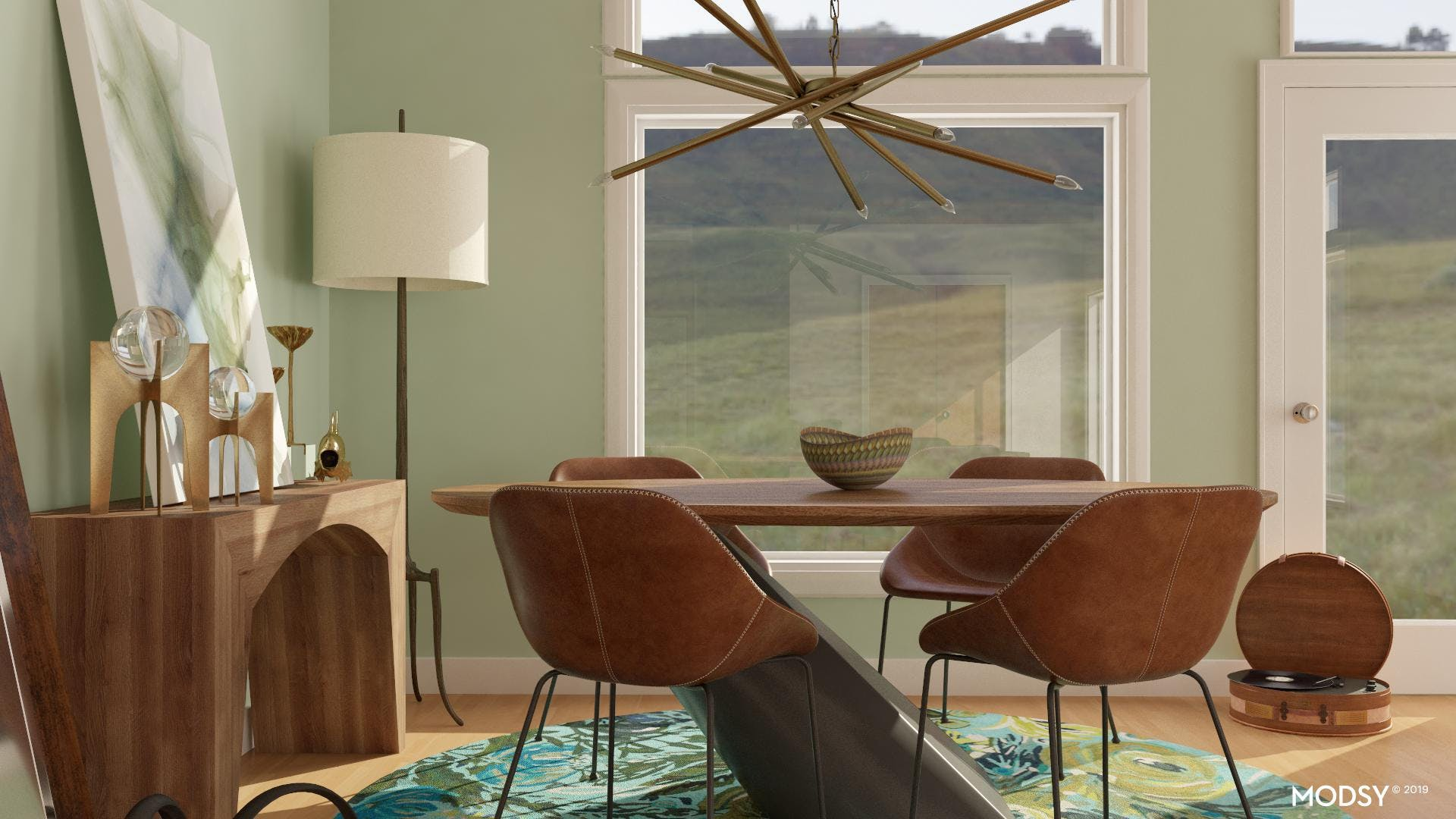 Green and Leather in a Small Dining Room