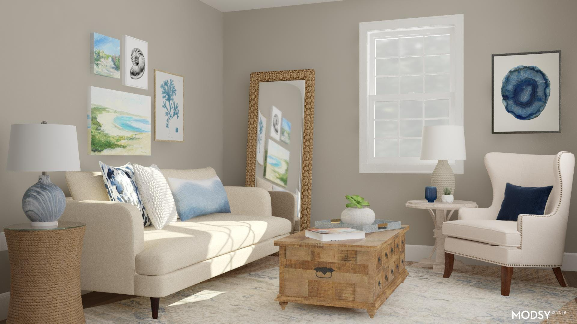 A Relaxed and Refined Coastal Living Room