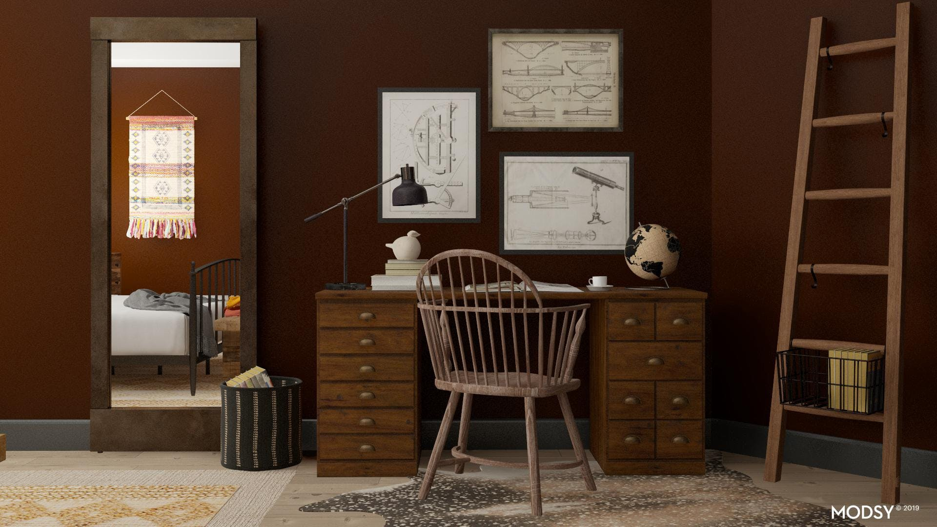 Traditional Rustic Home Office