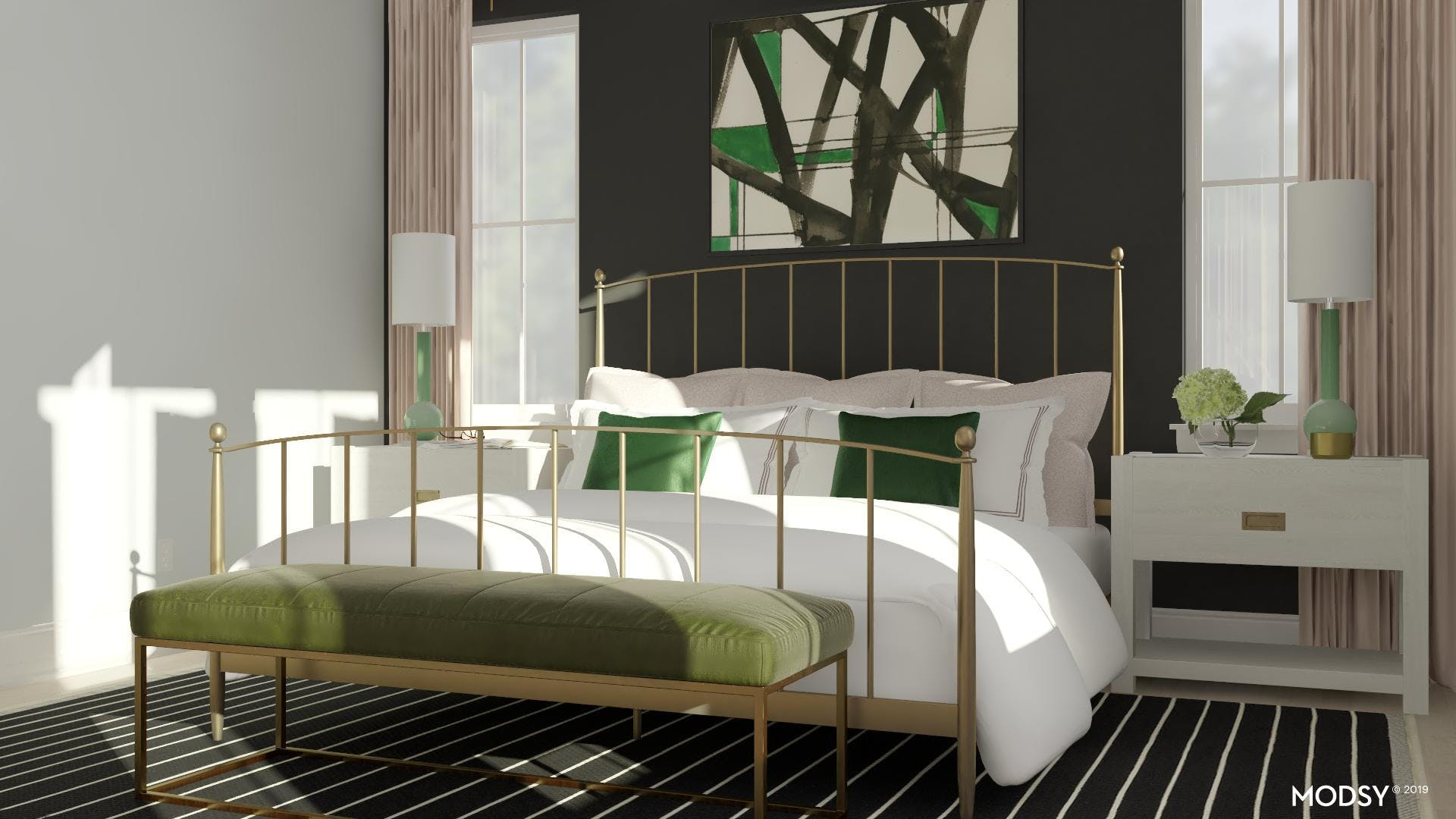 Pops of Green In A Modern Chic Bedroom