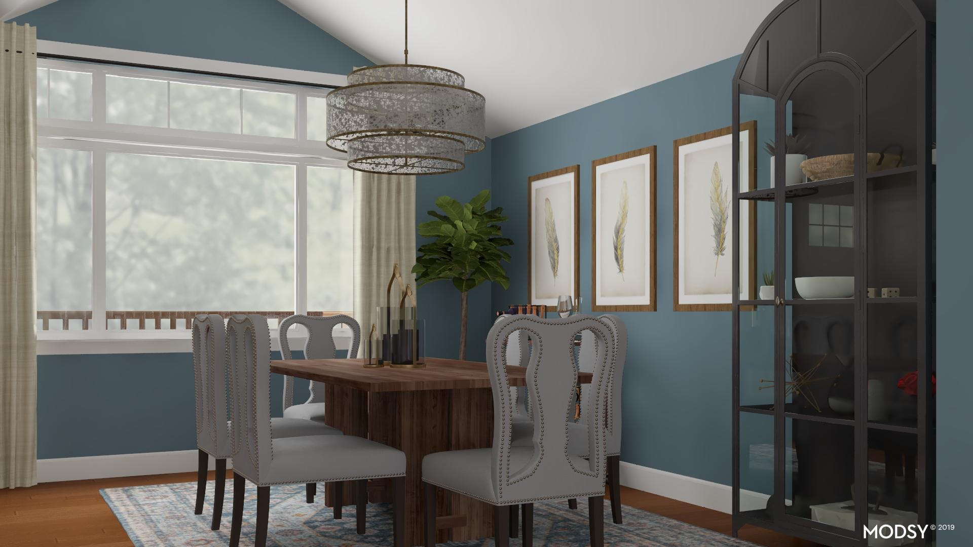 Blue Tranquility: Traditional Dining Room