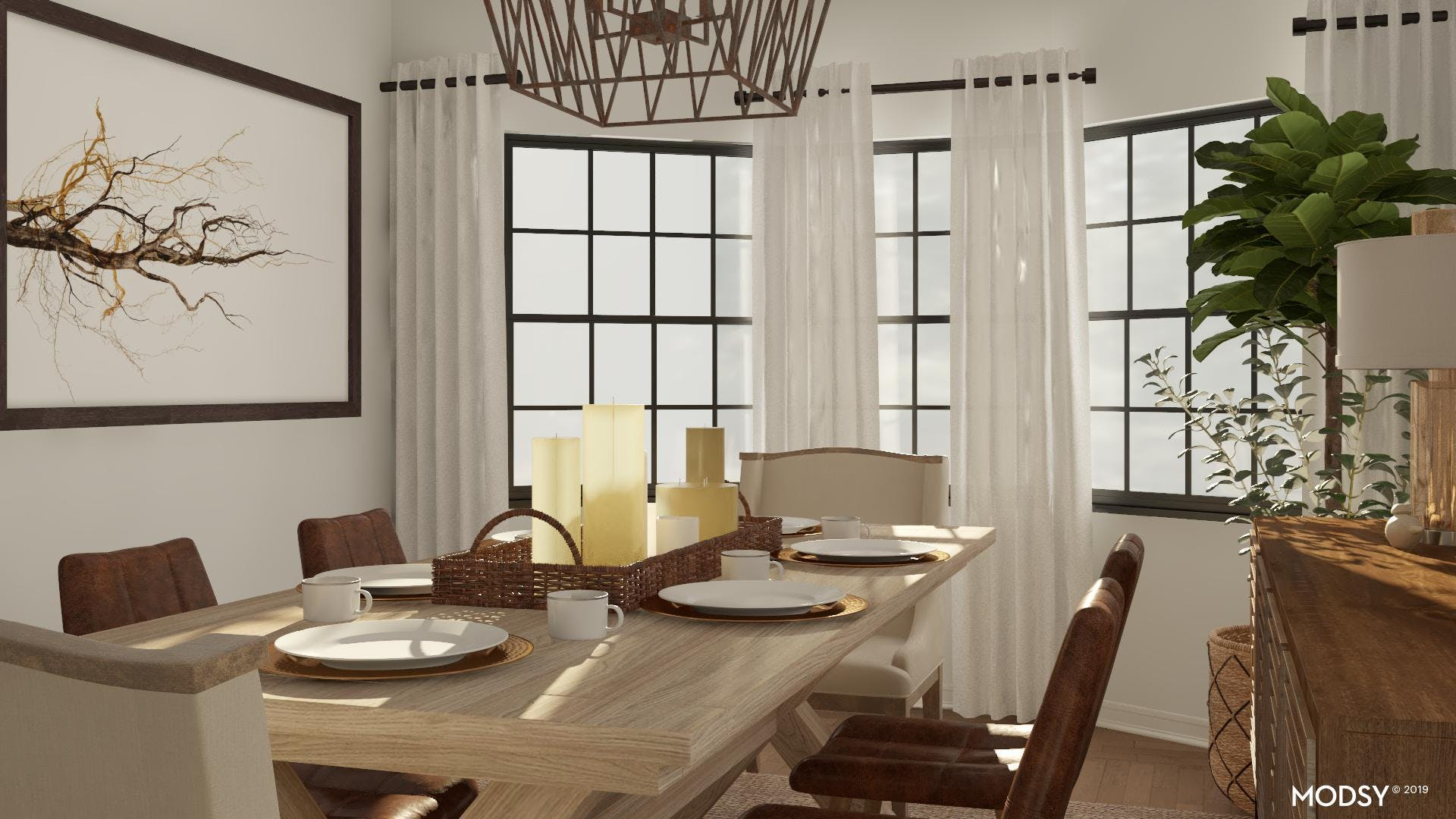 Neutral, Contemporary, and Rustic Dining Room