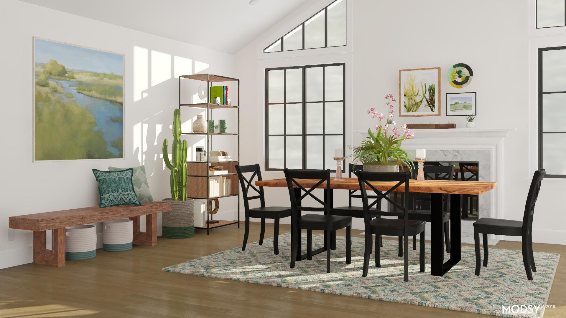Modern Rustic Dining Room in Green