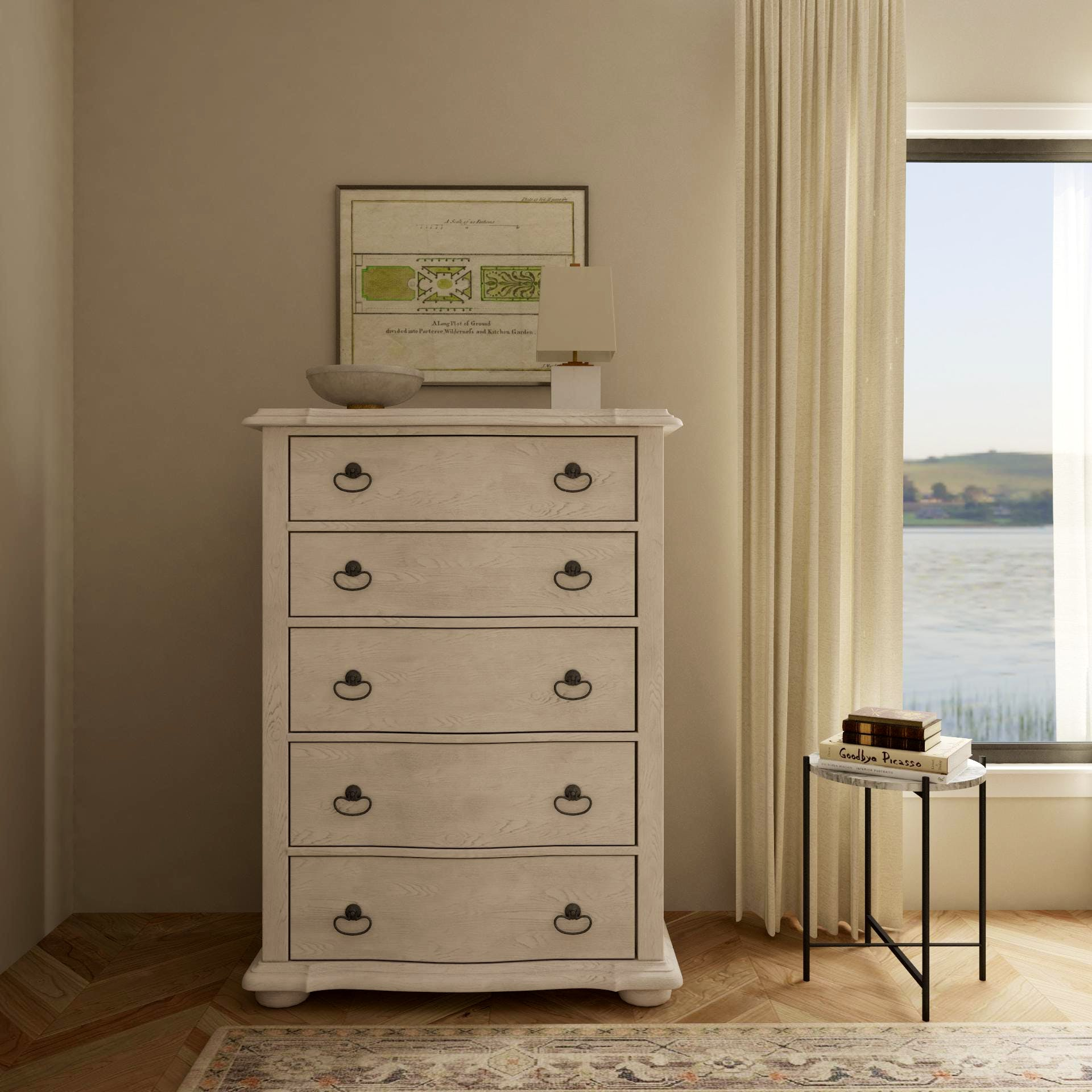 Traditional Dresser in Airy Bedroom With Modern Styling
