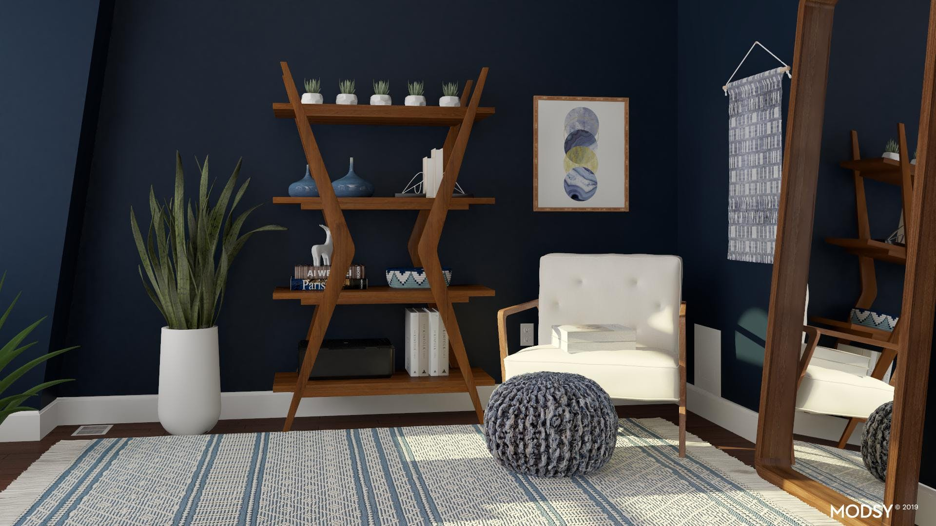 Office Reading Nook With A Bold Mid-Century Mod Flair