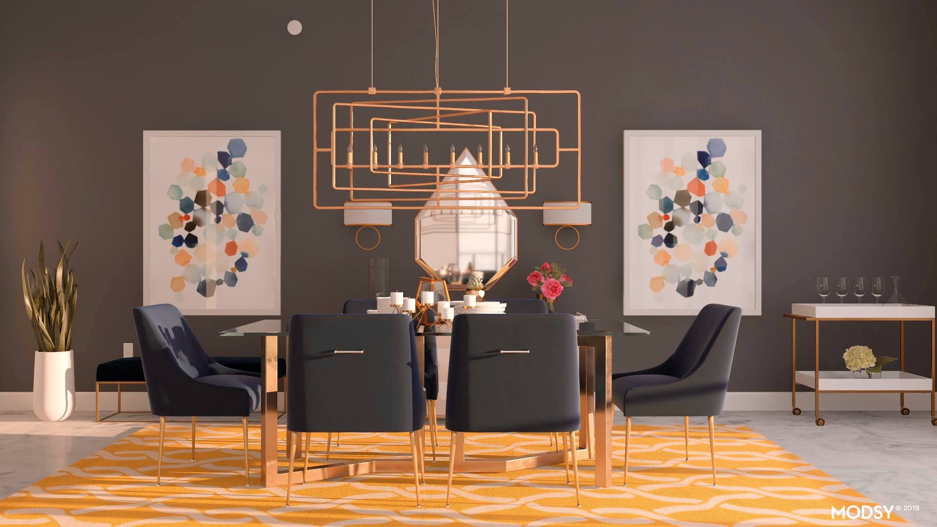 Contemporary Glam Dining Room