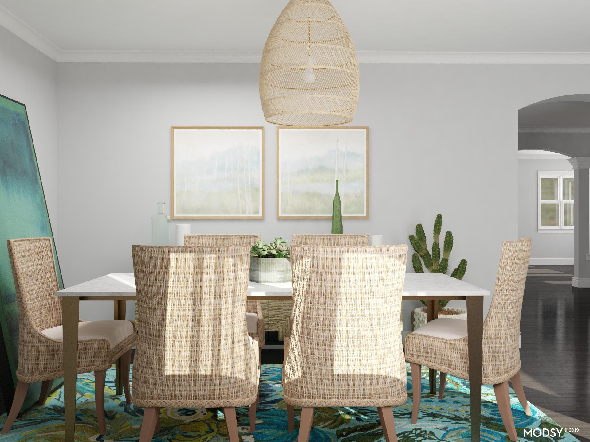 Coastal Dining Room With Green Accents