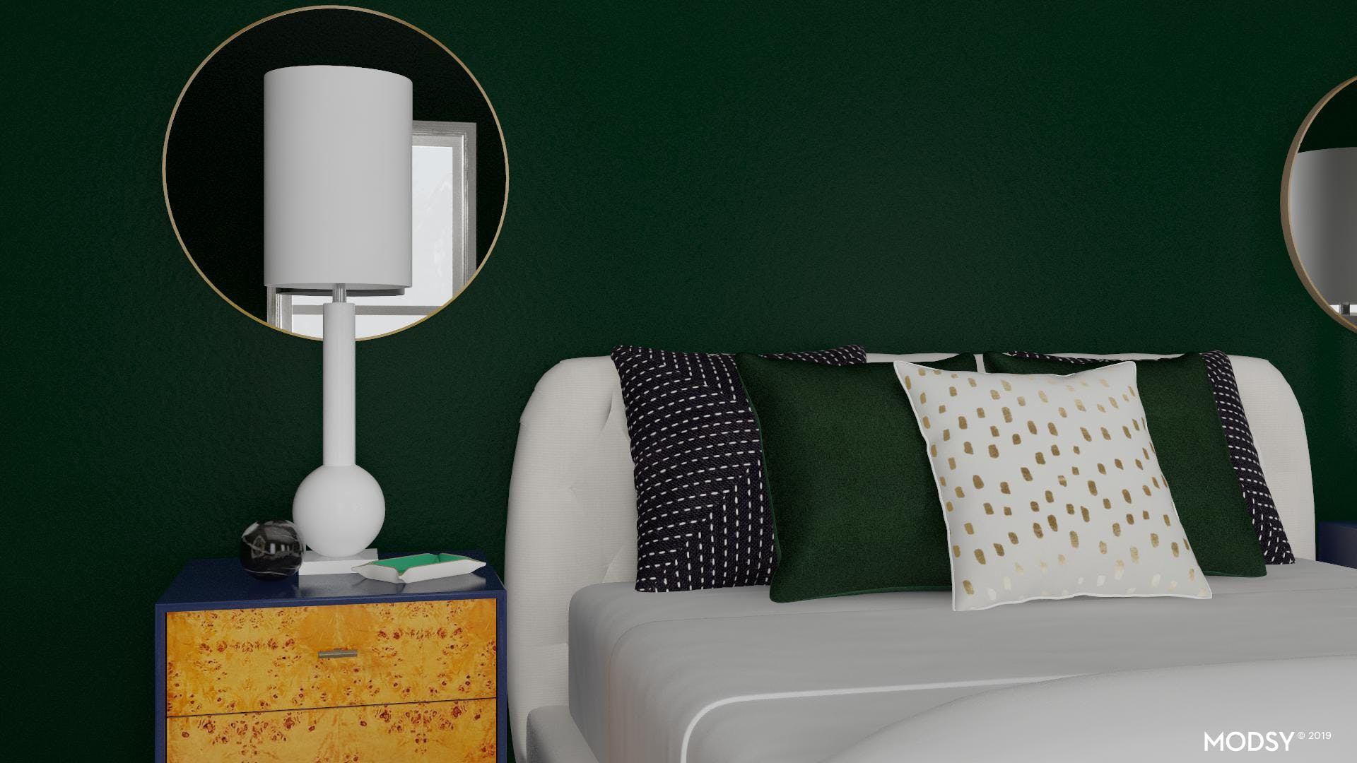Art Decor Bedroom With A Green Twist
