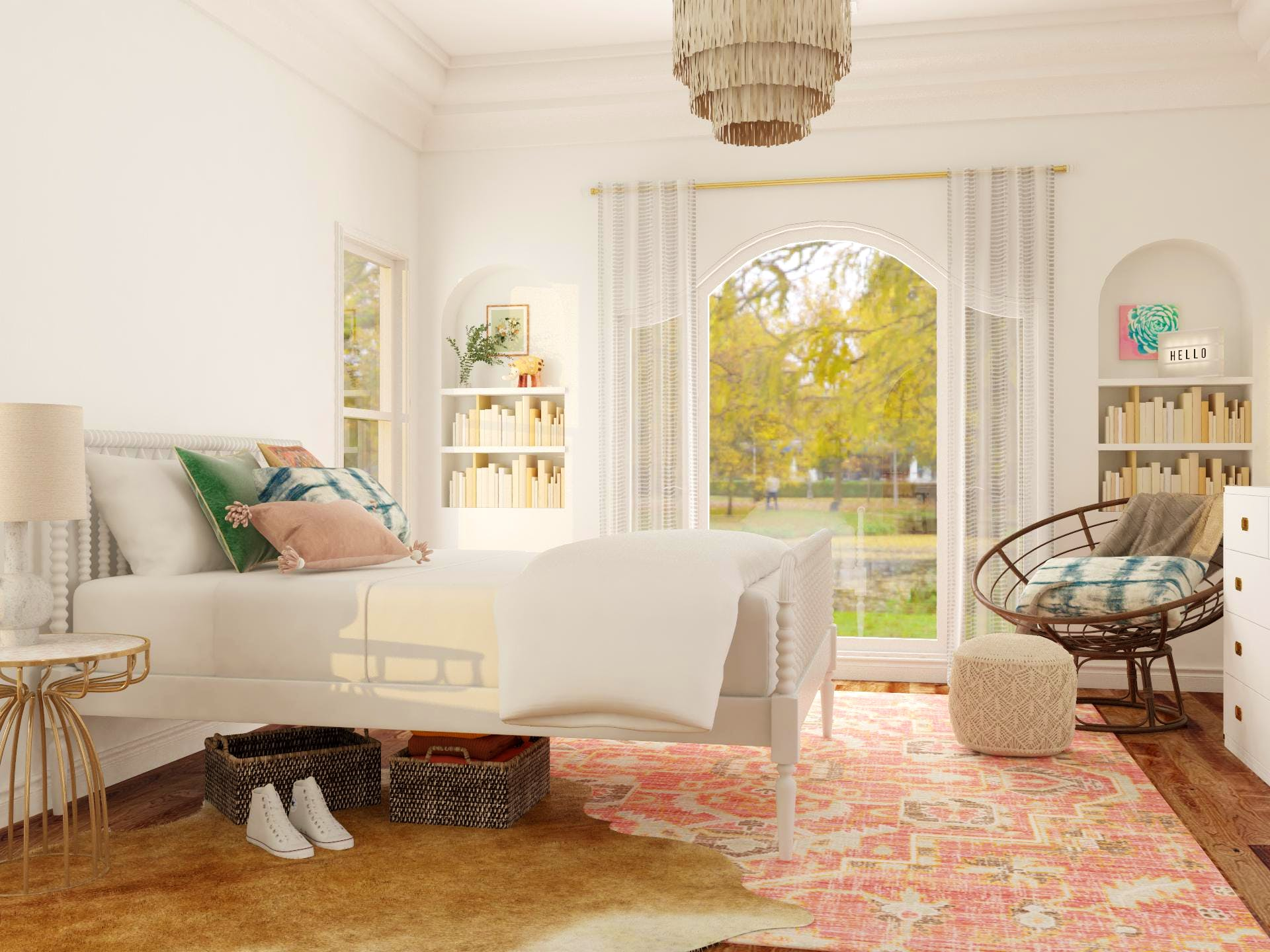 Eclectic Bedroom with Pops of Pink
