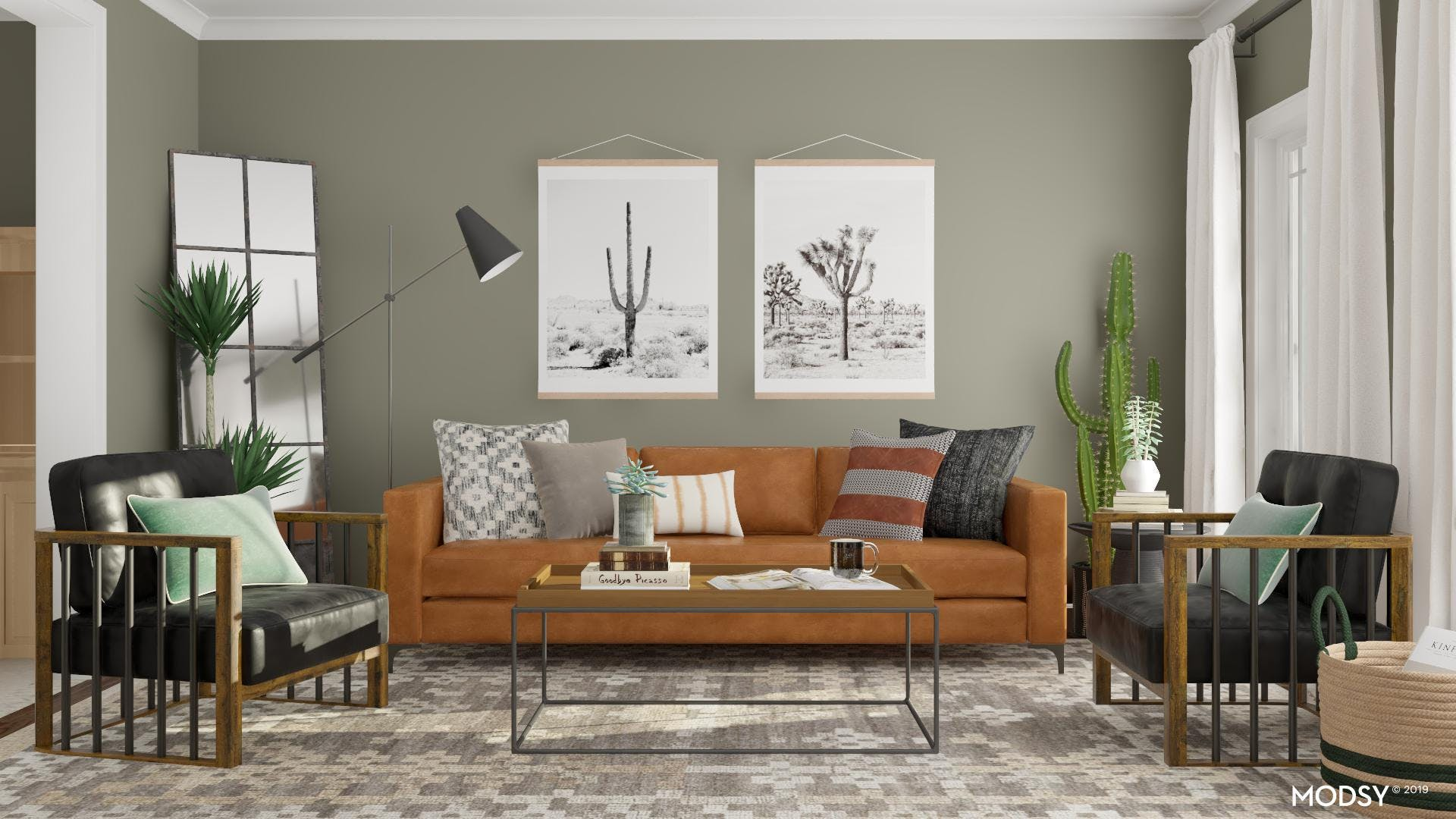Rustic Living Room With Mod And Masculine Twist