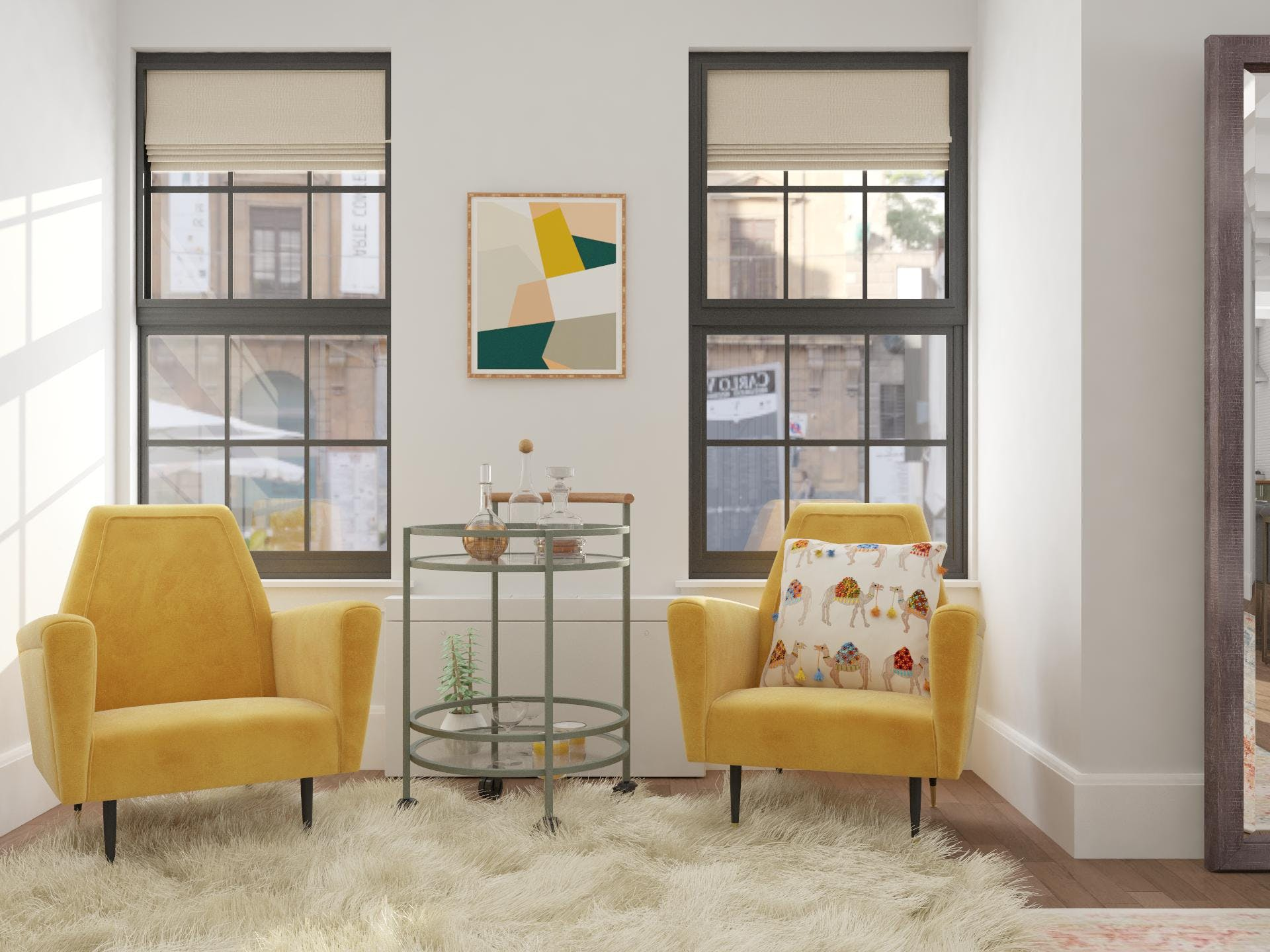 Corner Reading Nook with Bar in Cheerful Mid-Century-Modern Style