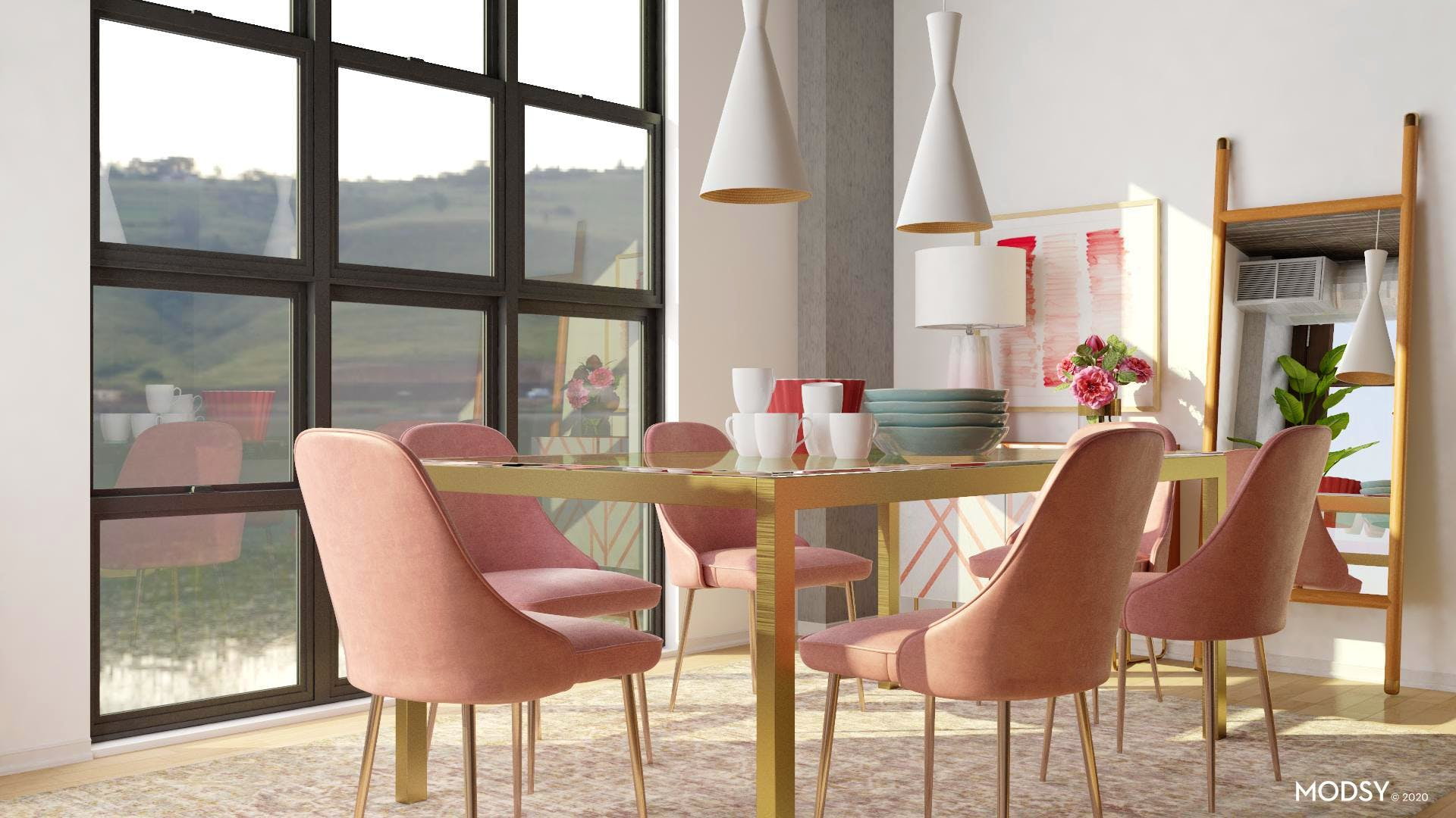 Pendant Lighting in Pastel Dining Room