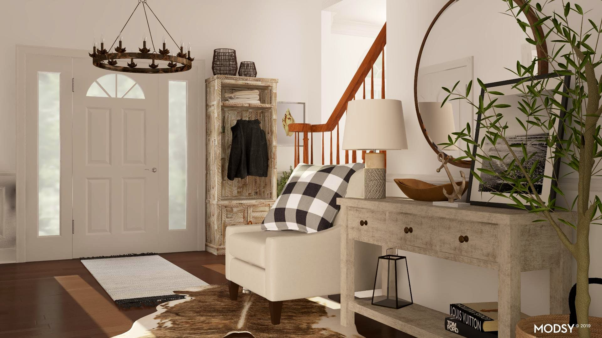 Warmth in a Black and White Coastal Entryway
