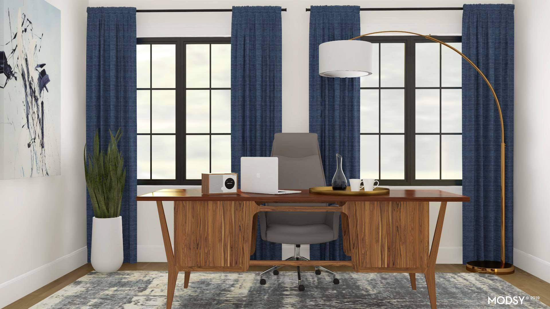 Cool-Tone Masculine Mid-Century Mod Office