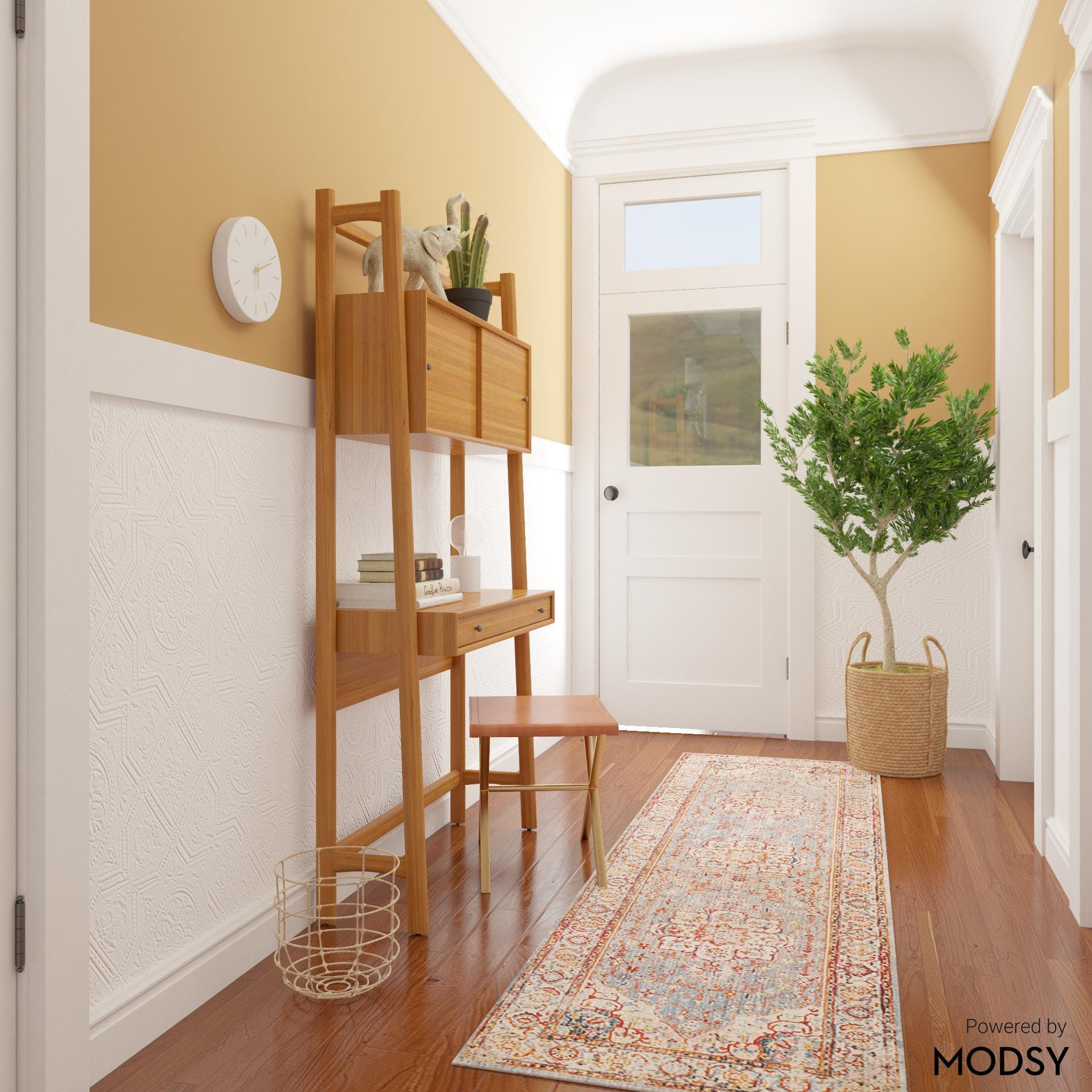 Mid-Century-Modern Entryway with Warm Color Palette