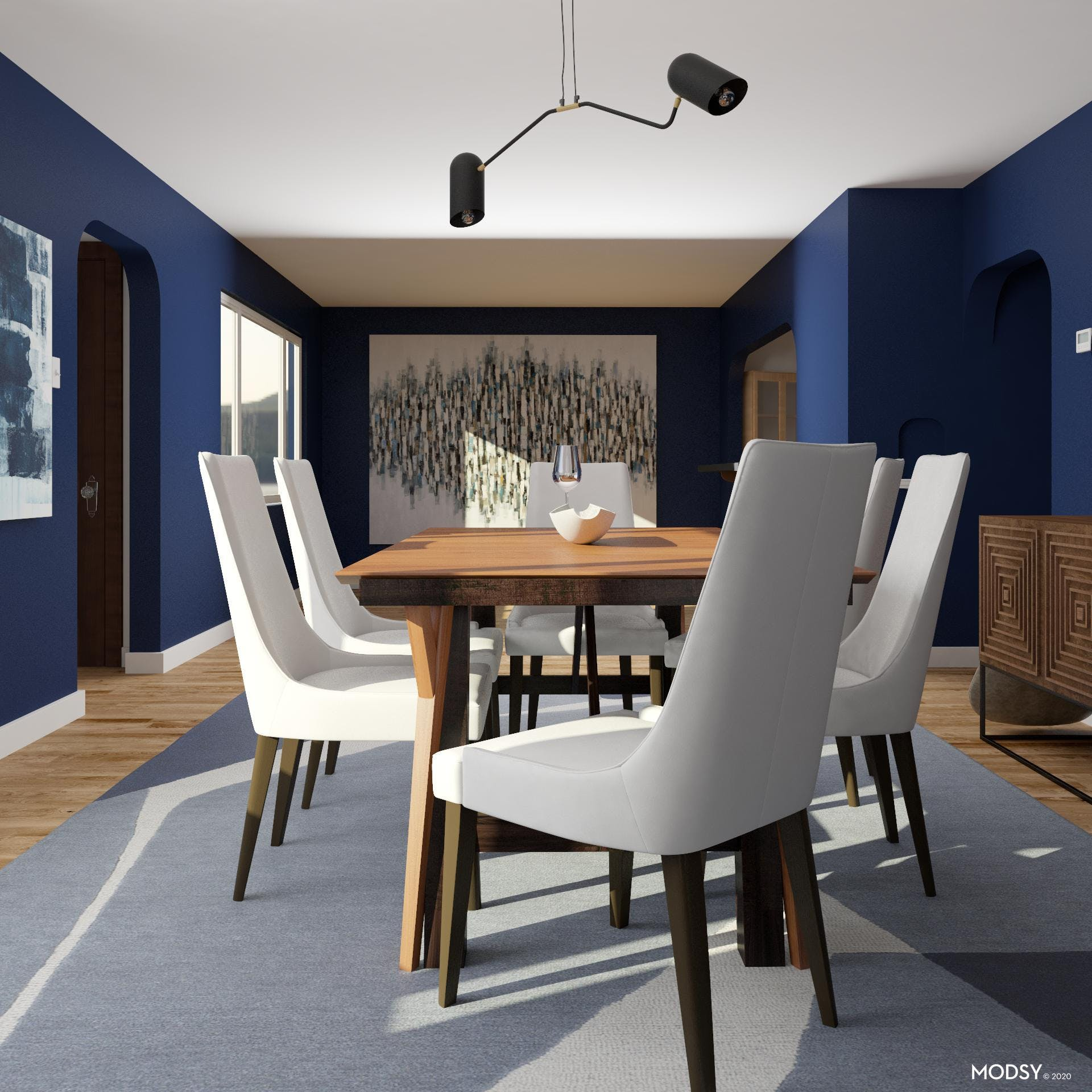 Formal Dining Room in Blues