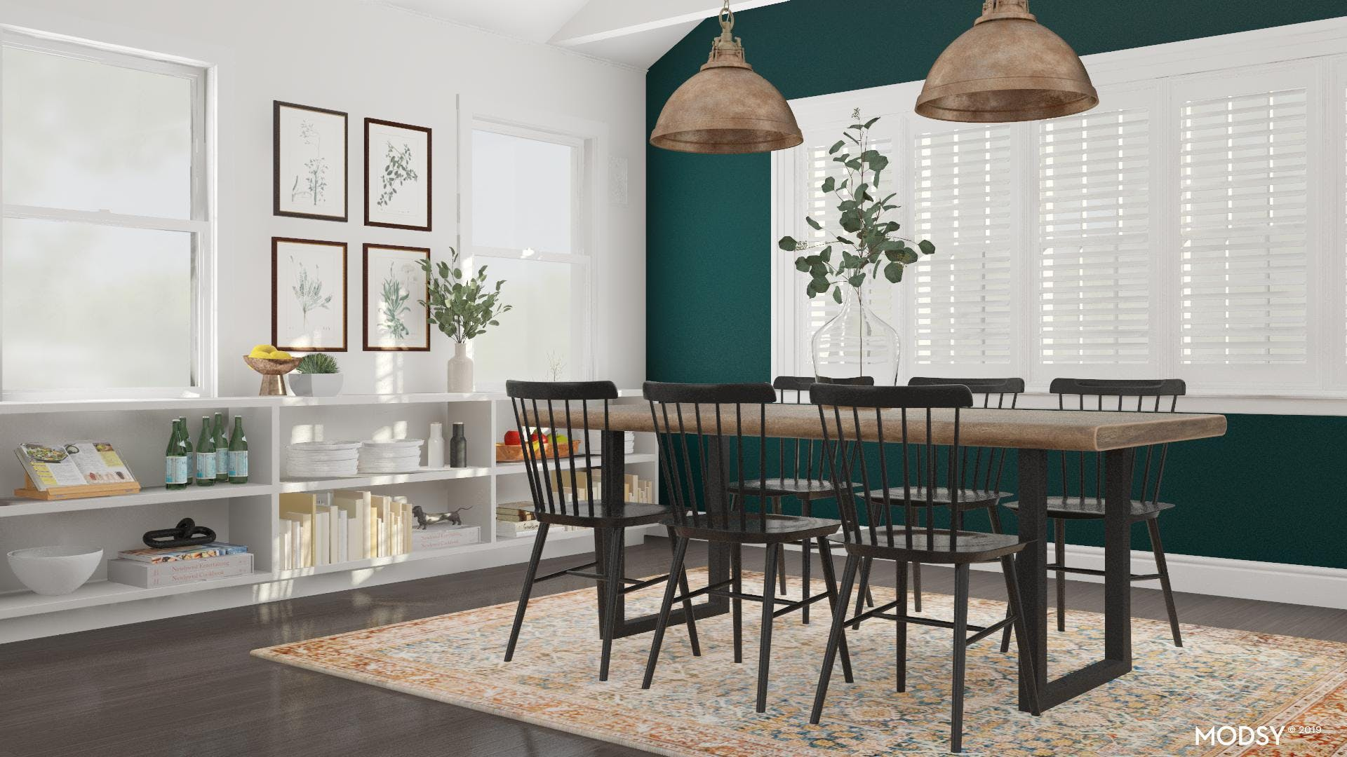Bright Accent Ideas For A Modern Rustic Dining Room