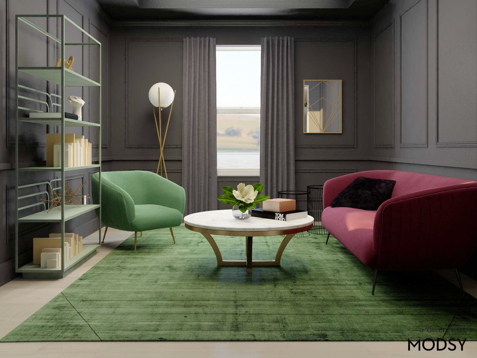 Deco Glam Living Room in Mysterious Jewel Tones