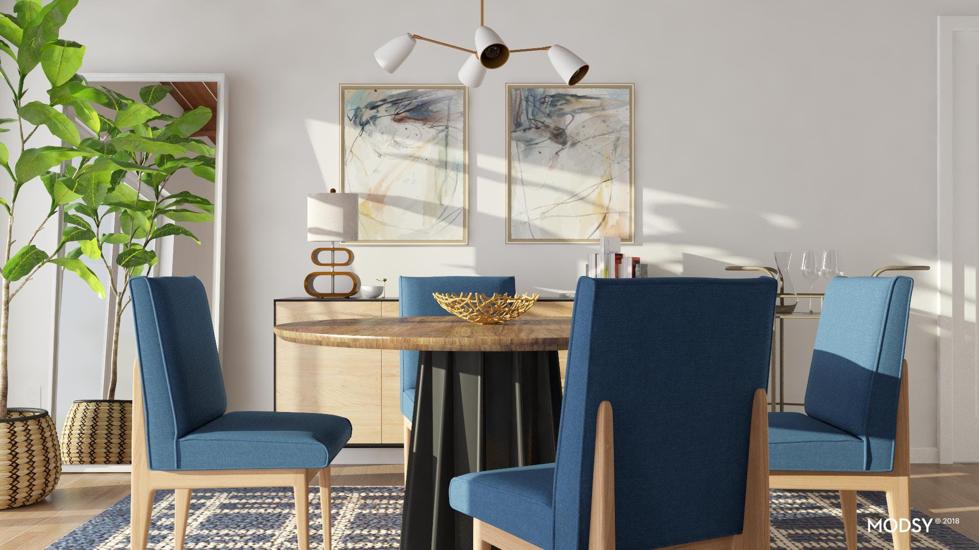 A Modern Dining Room In Perfect Blues