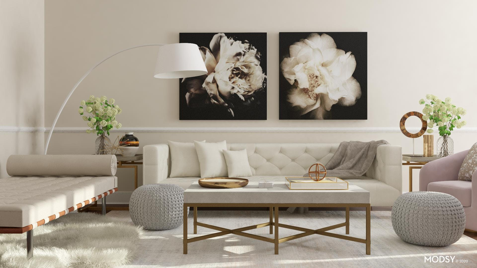 Neutral Glam Living Room Design